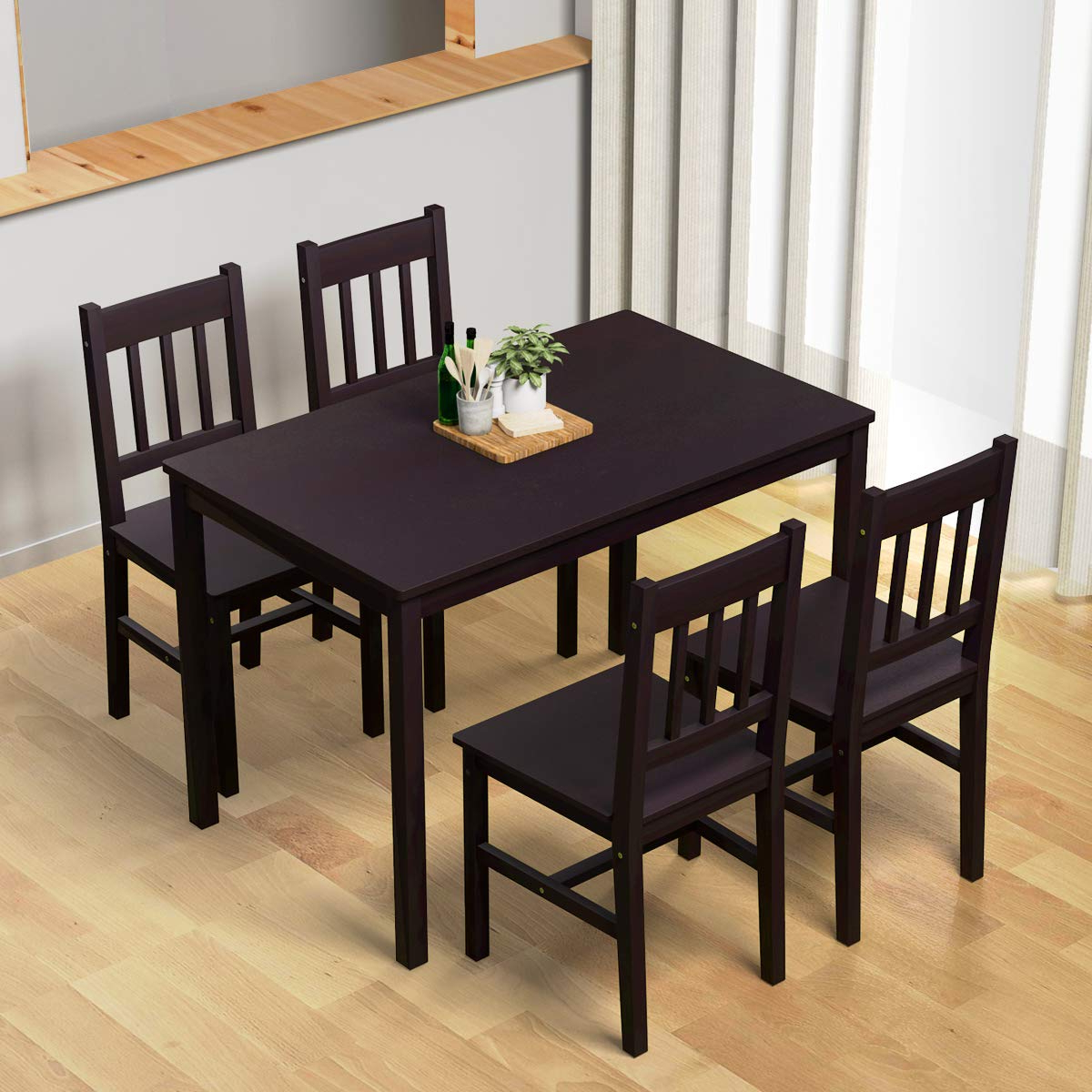 Trendy Sundberg 5 Piece Solid Wood Dining Sets Inside Giantex 5 Piece Wood Dining Table Set 4 Chairs Home Kitchen (View 22 of 25)