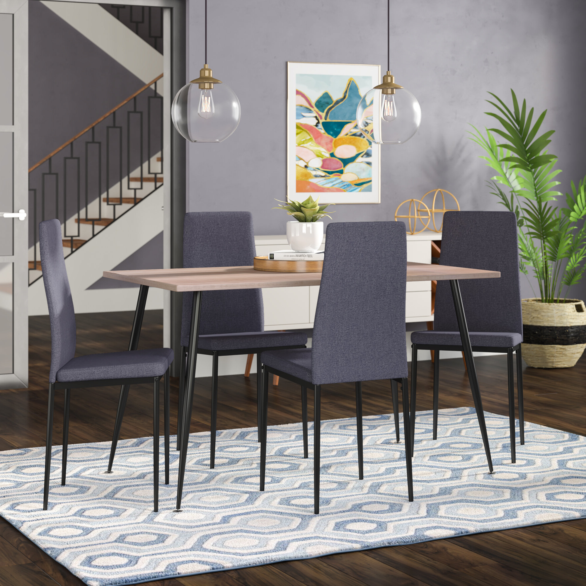 Trendy Travon 5 Piece Dining Sets With Regard To Wrought Studio Nieto Scandinavian Style Exotic 5 Pieces Dining Set (View 21 of 25)
