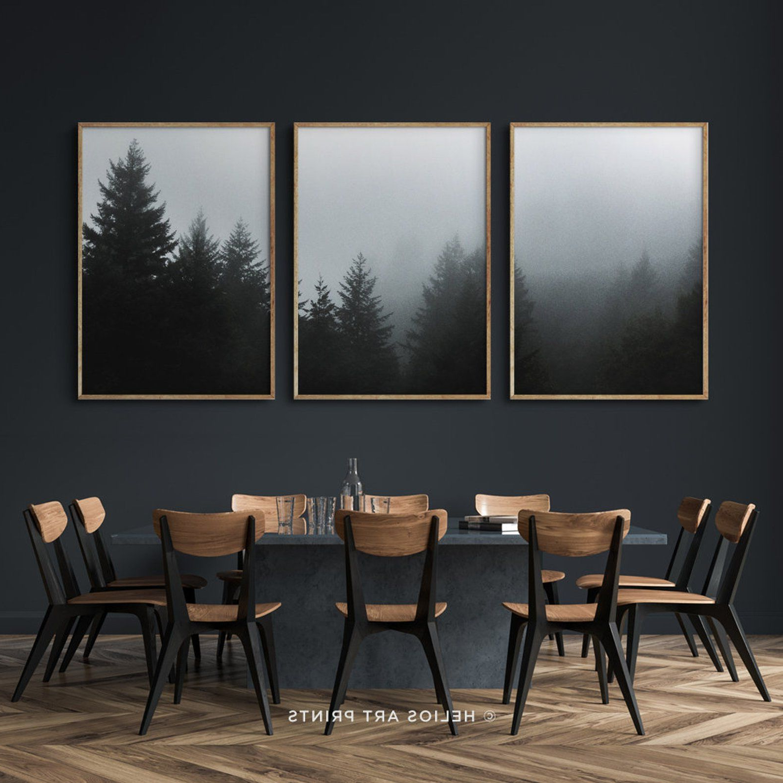 Wallflower 3 Piece Dining Sets Regarding Most Current Set Of Three Deep Green Misty Forest Art Prints, Set Of 3 Misty (View 19 of 25)