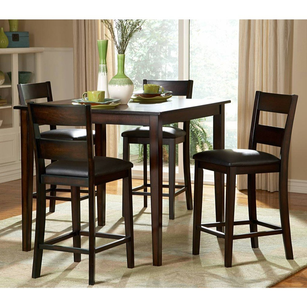 Featured Photo of Biggs 5 Piece Counter Height Solid Wood Dining Sets (Set Of 5)