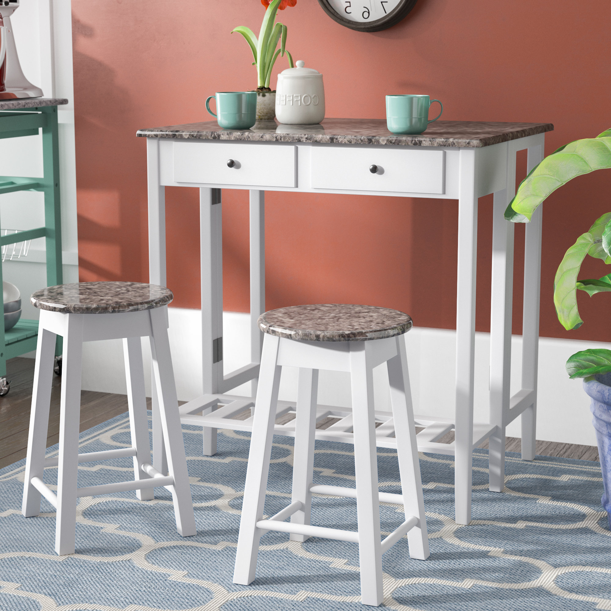 Wayfair For Poynter 3 Piece Drop Leaf Dining Sets (View 4 of 25)