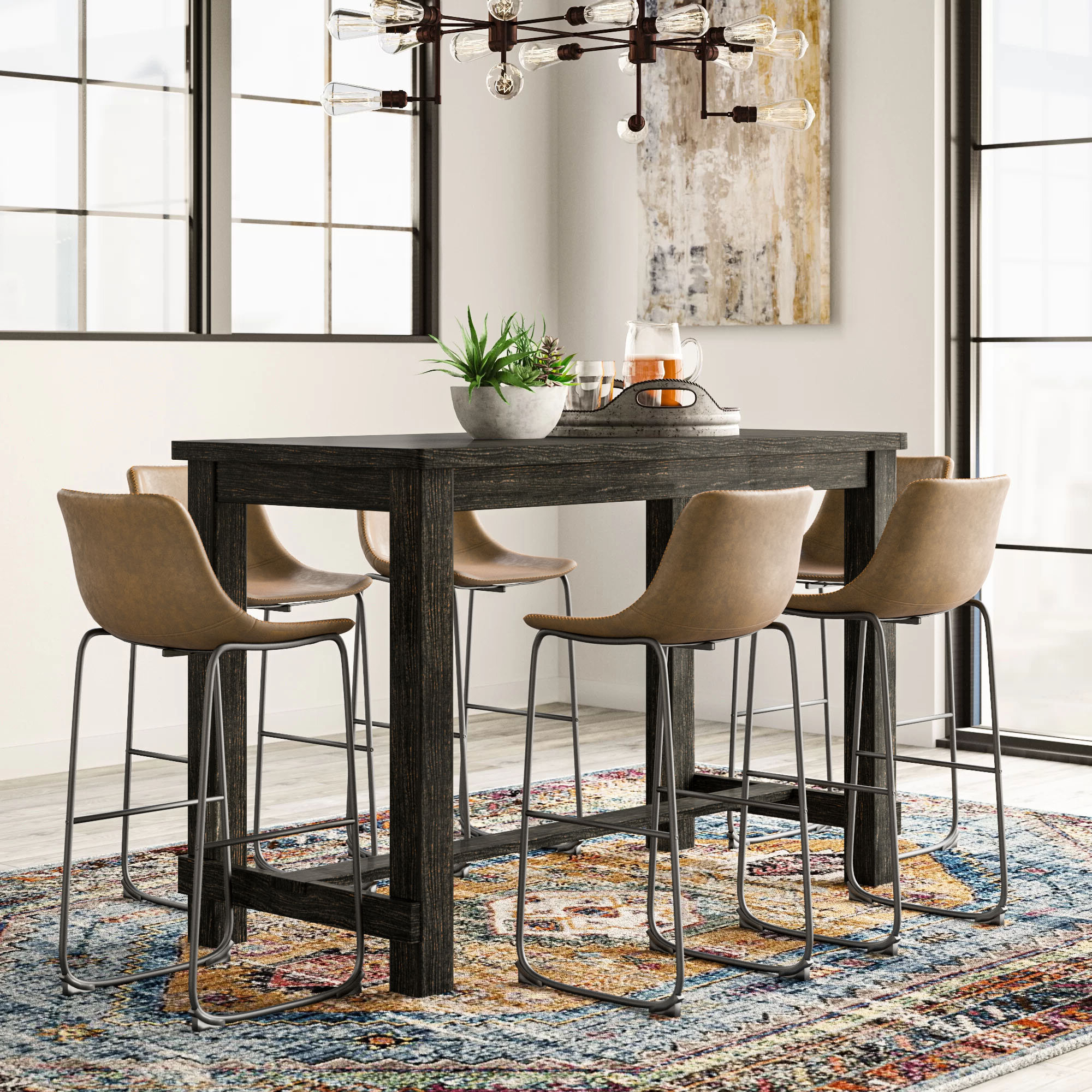 Wayfair Pertaining To Newest Biggs 5 Piece Counter Height Solid Wood Dining Sets (Set Of 5) (View 8 of 25)