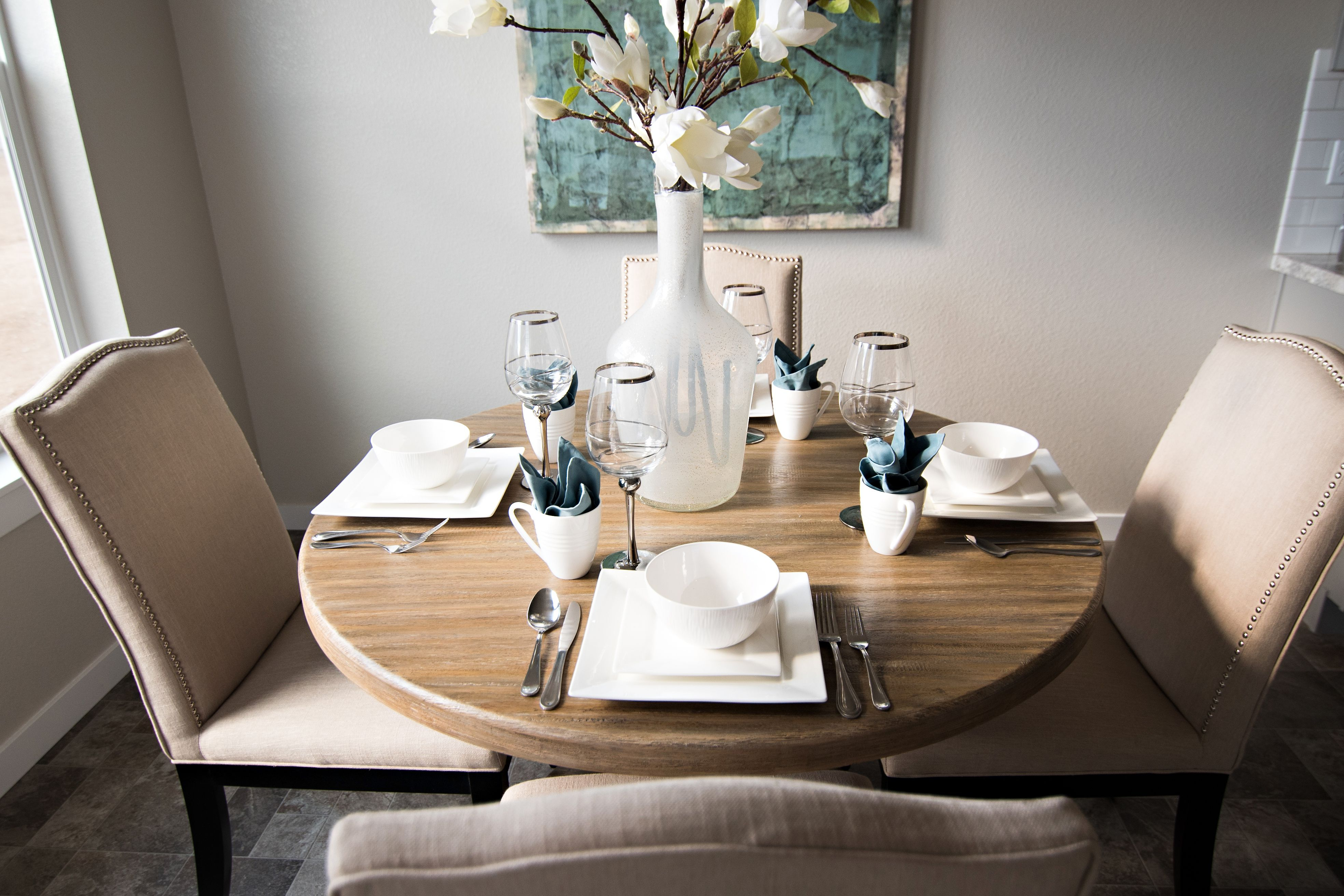 We Love This Circle Dining Room Table Set Up In Our Kincaid 1600 In 2020 Mukai 5 Piece Dining Sets (View 12 of 25)