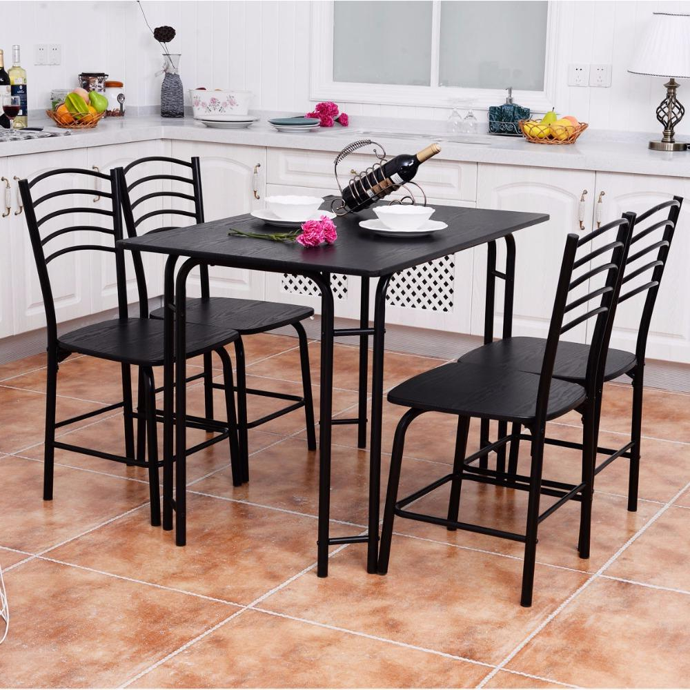 Well Known 5 Piece Black Modern Dining Set In  (View 5 of 25)