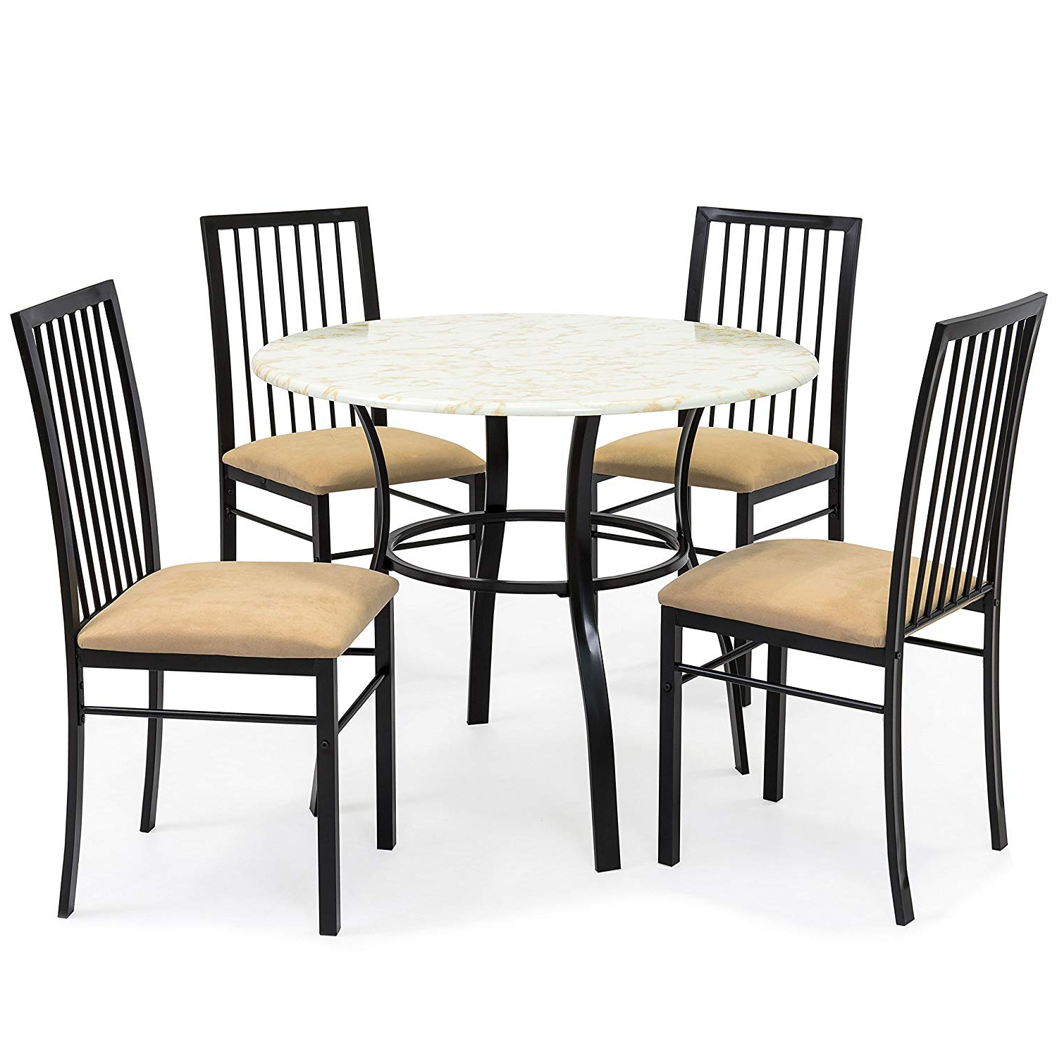 Well Known Amazon – Best Choice Products 5 Piece Faux Marble Top Dining With Evellen 5 Piece Solid Wood Dining Sets (Set Of 5) (View 14 of 25)