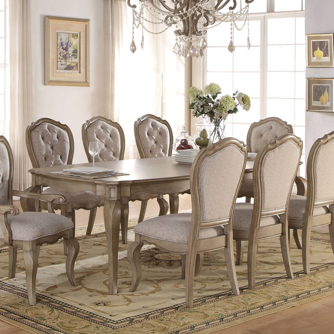 Well Known Chelmsford 3 Piece Dining Sets With Regard To Acme Chelmsford Dining Table In Antique Taupe (View 25 of 25)