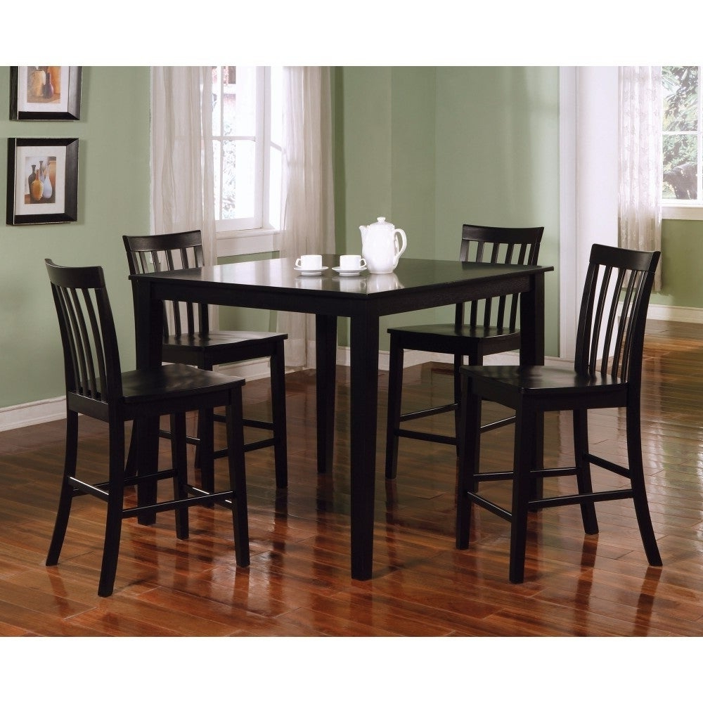 Well Known Goodman 5 Piece Solid Wood Dining Sets (Set Of 5) Throughout Shop Classy 5 Piece Wooden Counter Height Dining Set, Black – Free (View 20 of 25)