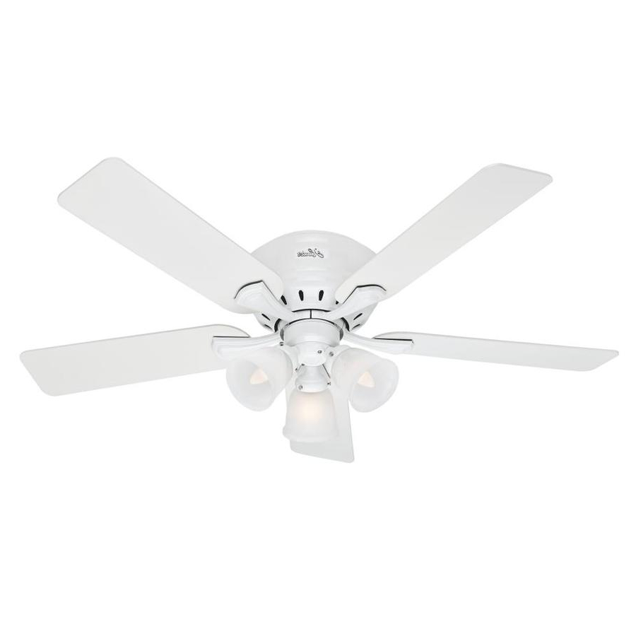 Well Known Hunter Reinert 52 In Indoor Flush Mount Ceiling Fan With Light Kit With Reinert 5 Piece Dining Sets (View 24 of 25)