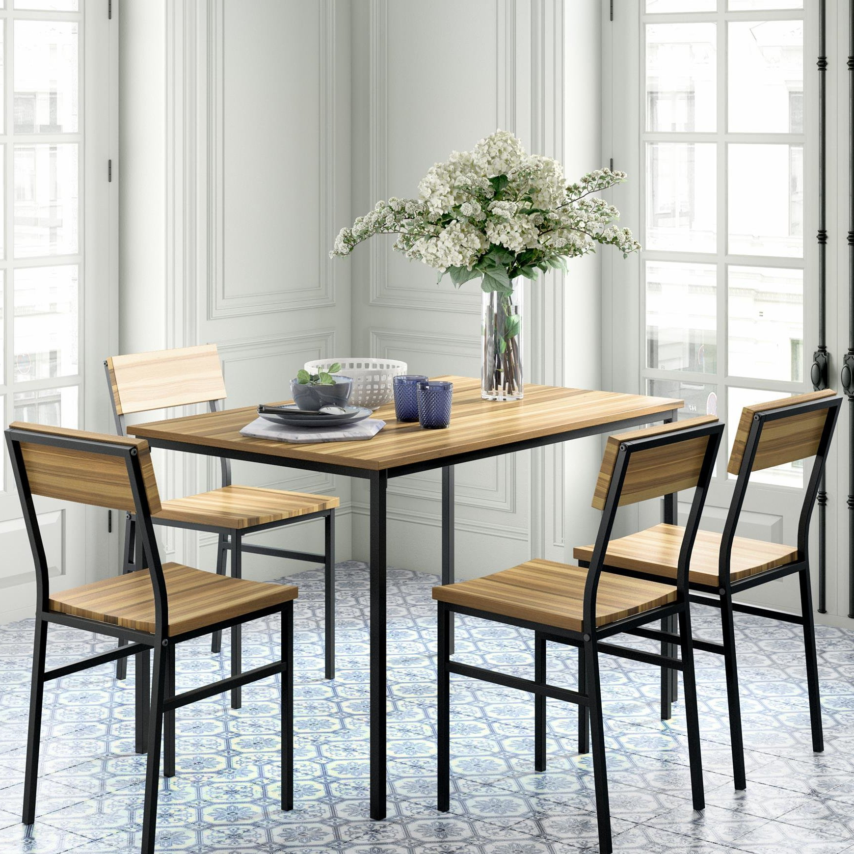 Well Known Kieffer 5 Piece Dining Sets Throughout Novogratz Linden 5 Piece Dining Set (View 13 of 25)