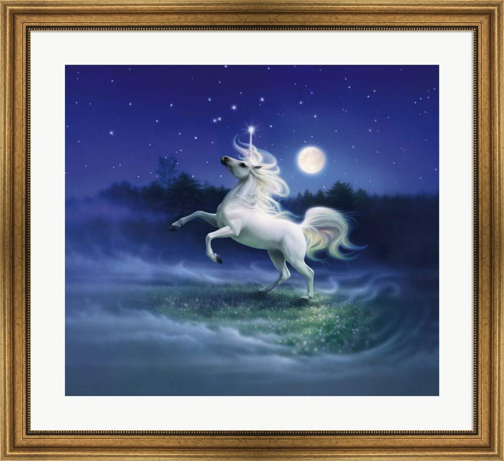 Well Known Reinert 5 Piece Dining Sets Intended For Amazon: Moonlight Unicorn Kirk Reinert Art Print, 16 X 14 Inches (View 24 of 25)