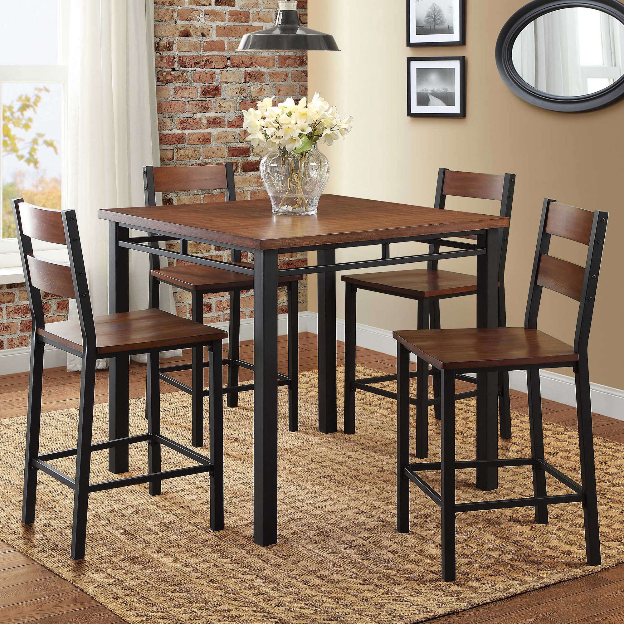 Well Known Rustic Dining Table Set High Top Counter Height Chair Kitchen Nook 5 Inside 5 Piece Breakfast Nook Dining Sets (View 20 of 25)