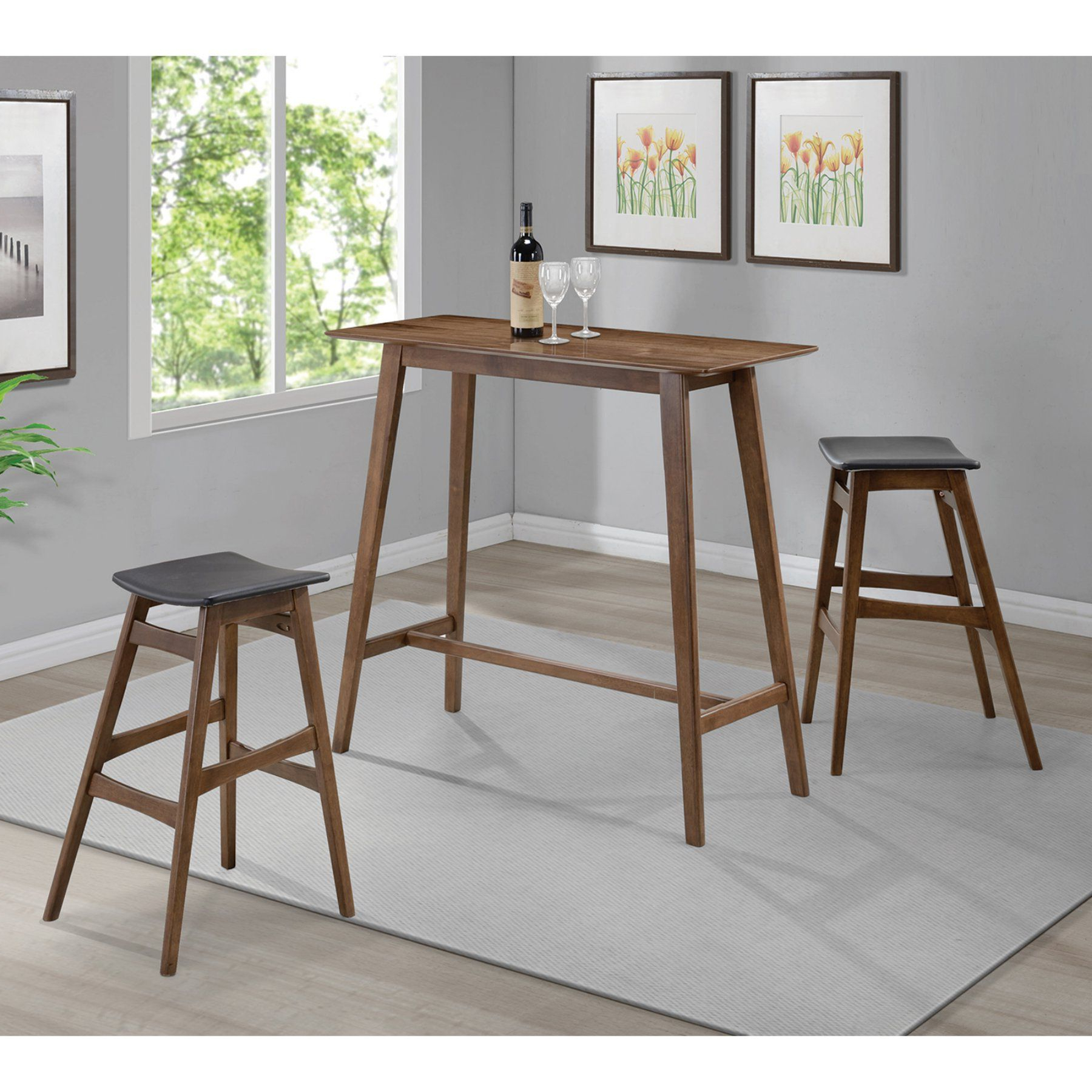Well Known Weatherholt Dining Tables Inside Coaster Furniture Coaster Landers 3 Piece Rectangular Pub Table Set (View 20 of 25)