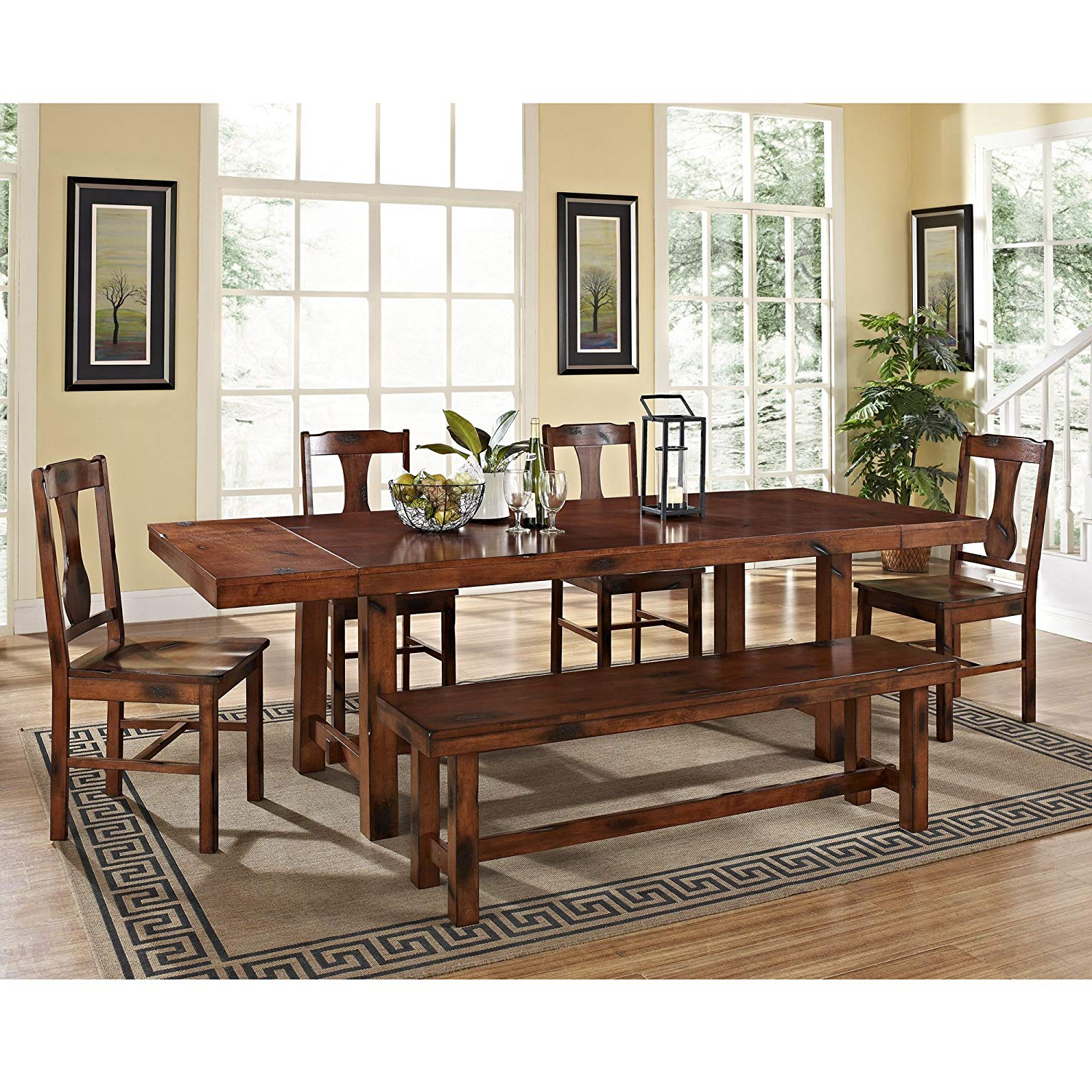 Well Known West Hill Family Table 3 Piece Dining Sets Within Amazon – 6 Piece Solid Wood Dining Set, Dark Oak – Table & Chair (View 16 of 25)