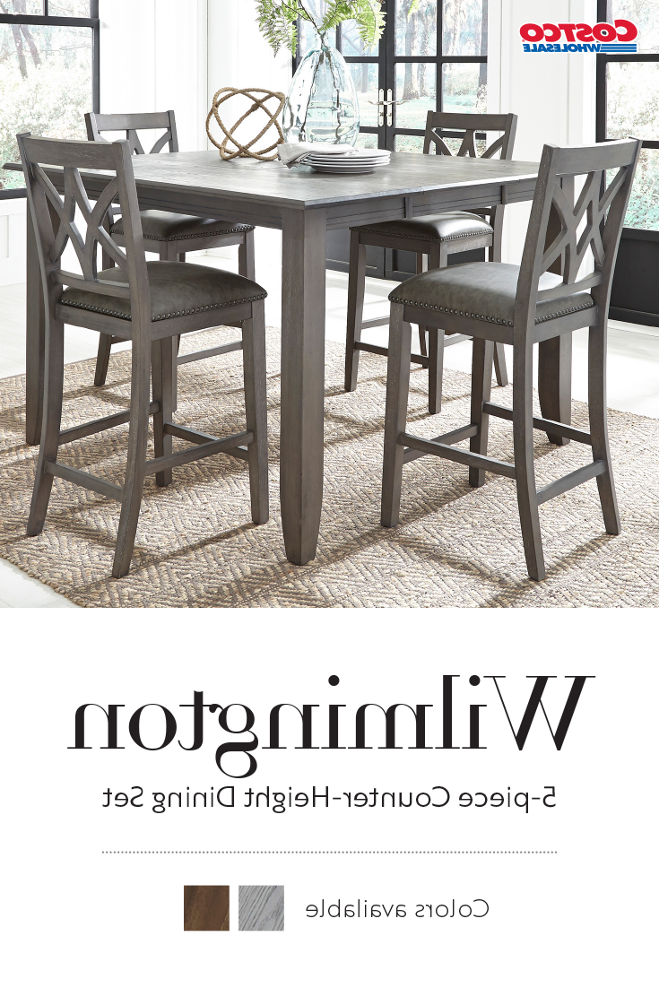 Well Known Wilmington 5 Piece Counter Height Dining Set In (View 2 of 25)