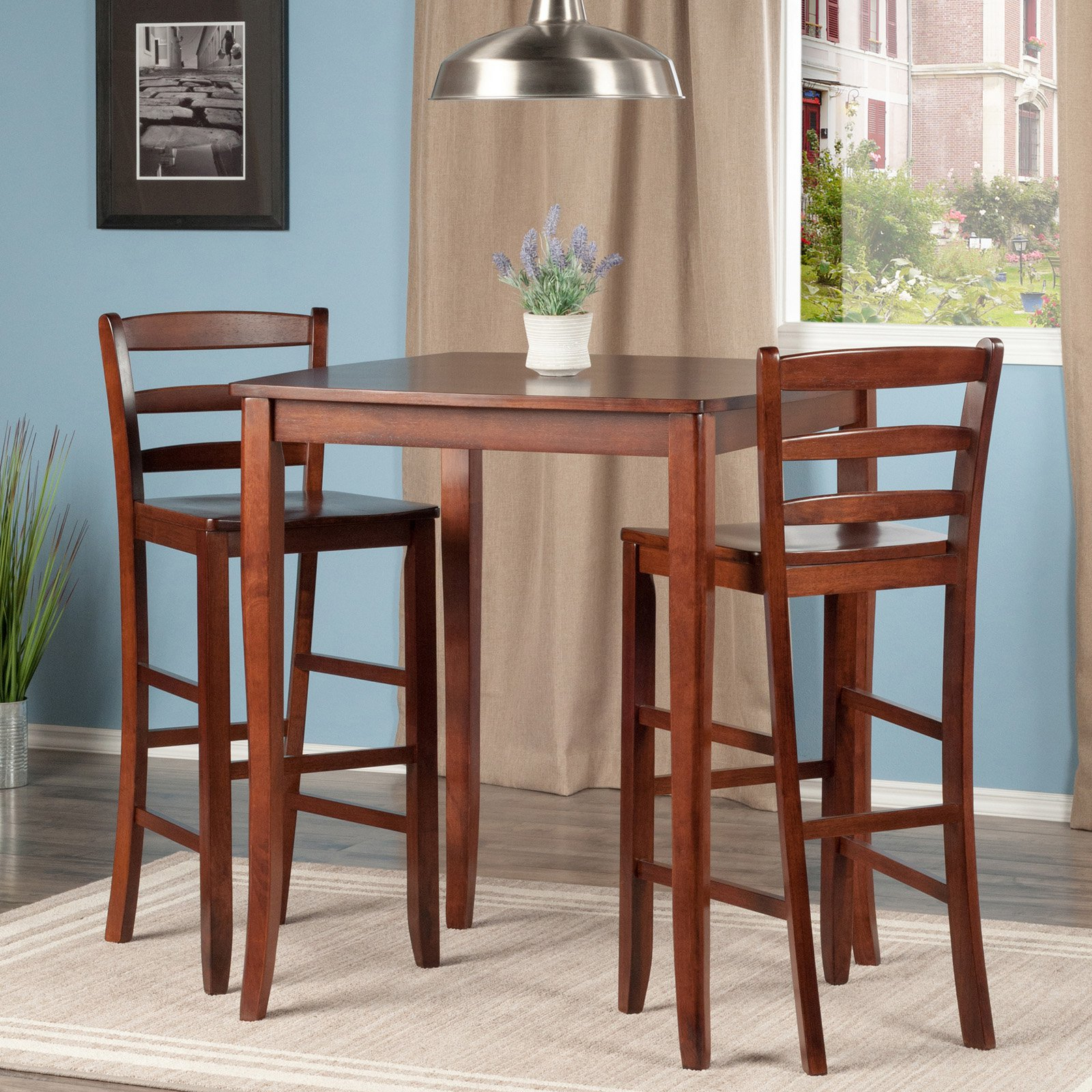 Well Known Winsome Inglewood 3 Piece Pub Table Set With Ladder Back Stools In In Winsome 3 Piece Counter Height Dining Sets (View 14 of 25)
