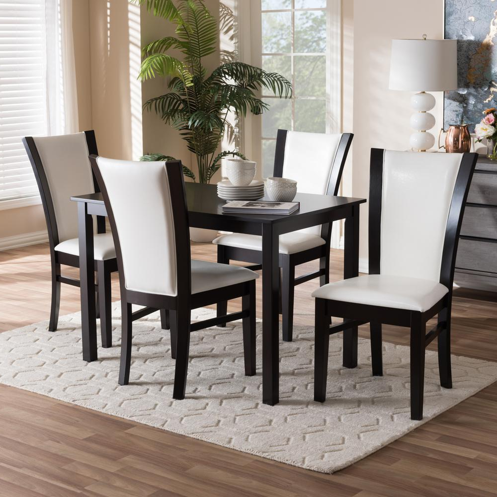 Well Liked Baxton Studio Adley 5 Piece White And Dark Brown Dining Set 8034 Within Evellen 5 Piece Solid Wood Dining Sets (Set Of 5) (View 17 of 25)
