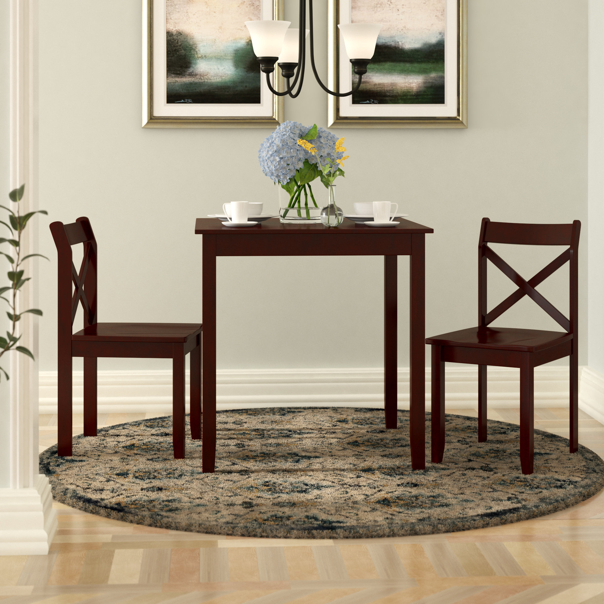 Well Liked Charlton Home Flossmoor 3 Piece Dining Set & Reviews (View 24 of 25)