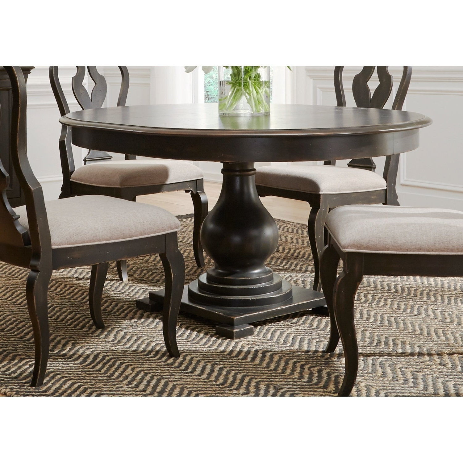 Well Liked Debby Small Space 3 Piece Dining Sets With Chesapeake Wire Brushed Antique Black 48X60 Pedestal Dinette Table (View 16 of 25)