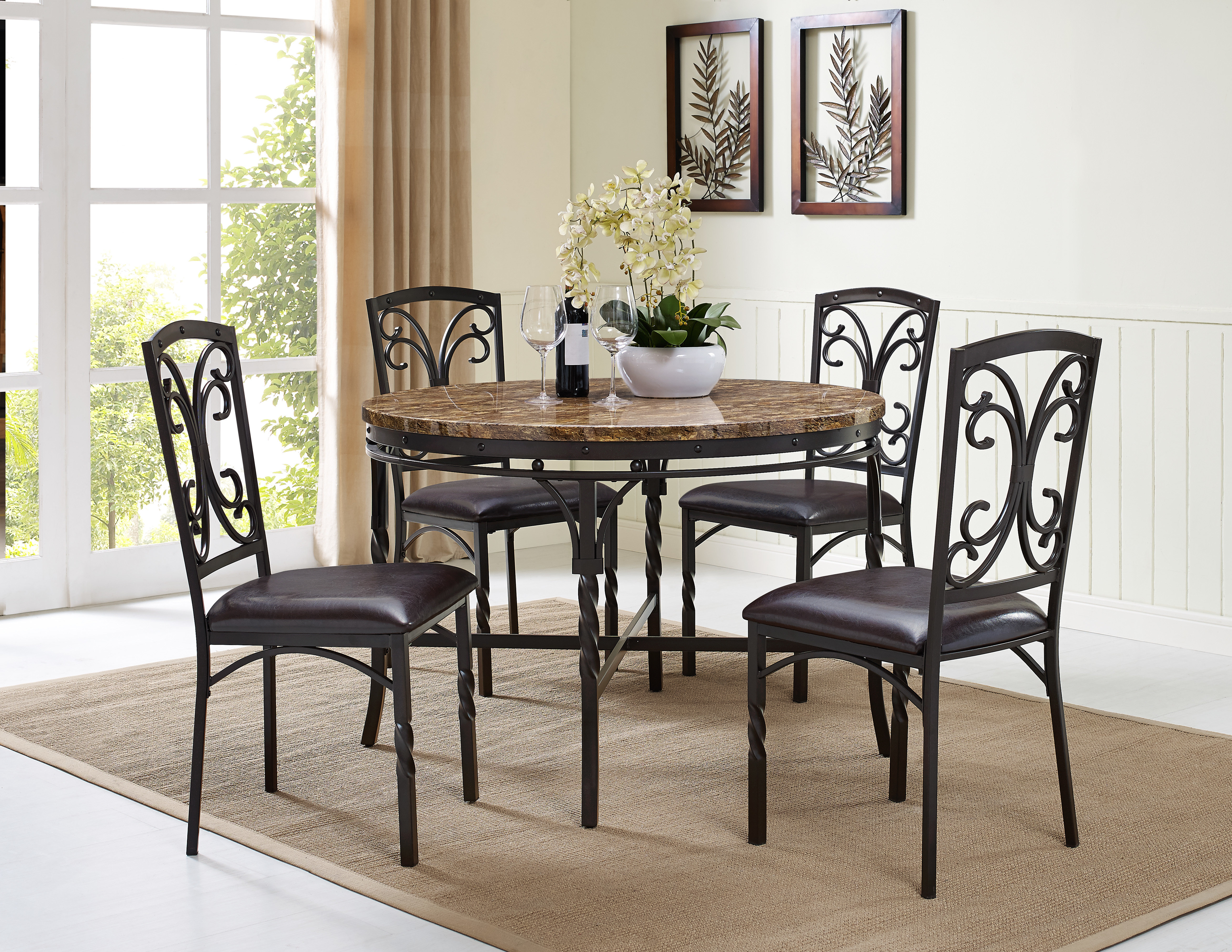 Well Liked Fleur De Lis Living Vaughan 5 Piece Dining Table Set (View 25 of 25)