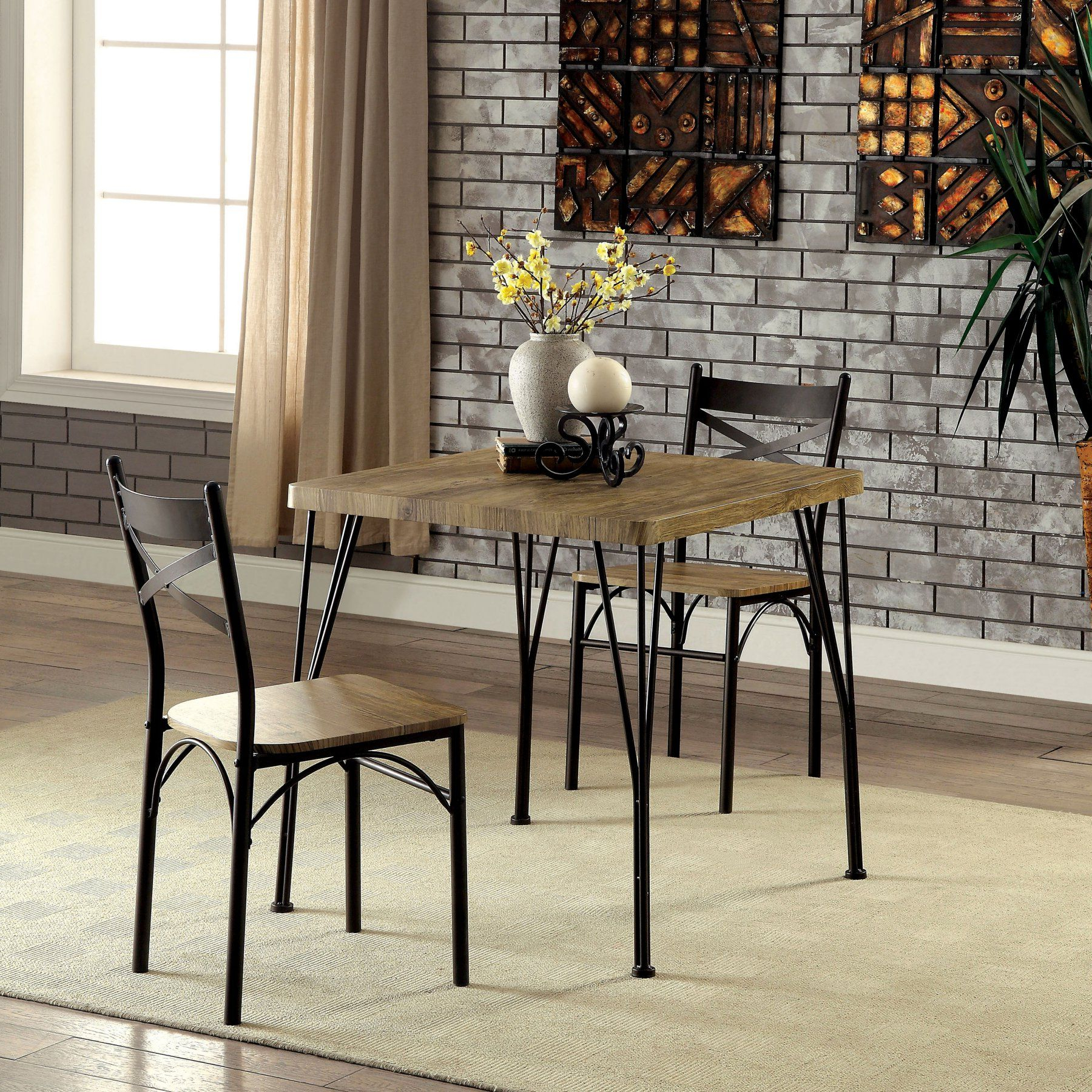 Well Liked Furniture Of America Amonica Industrial Style 3 Piece Casual Dining Regarding Bearden 3 Piece Dining Sets (View 16 of 25)