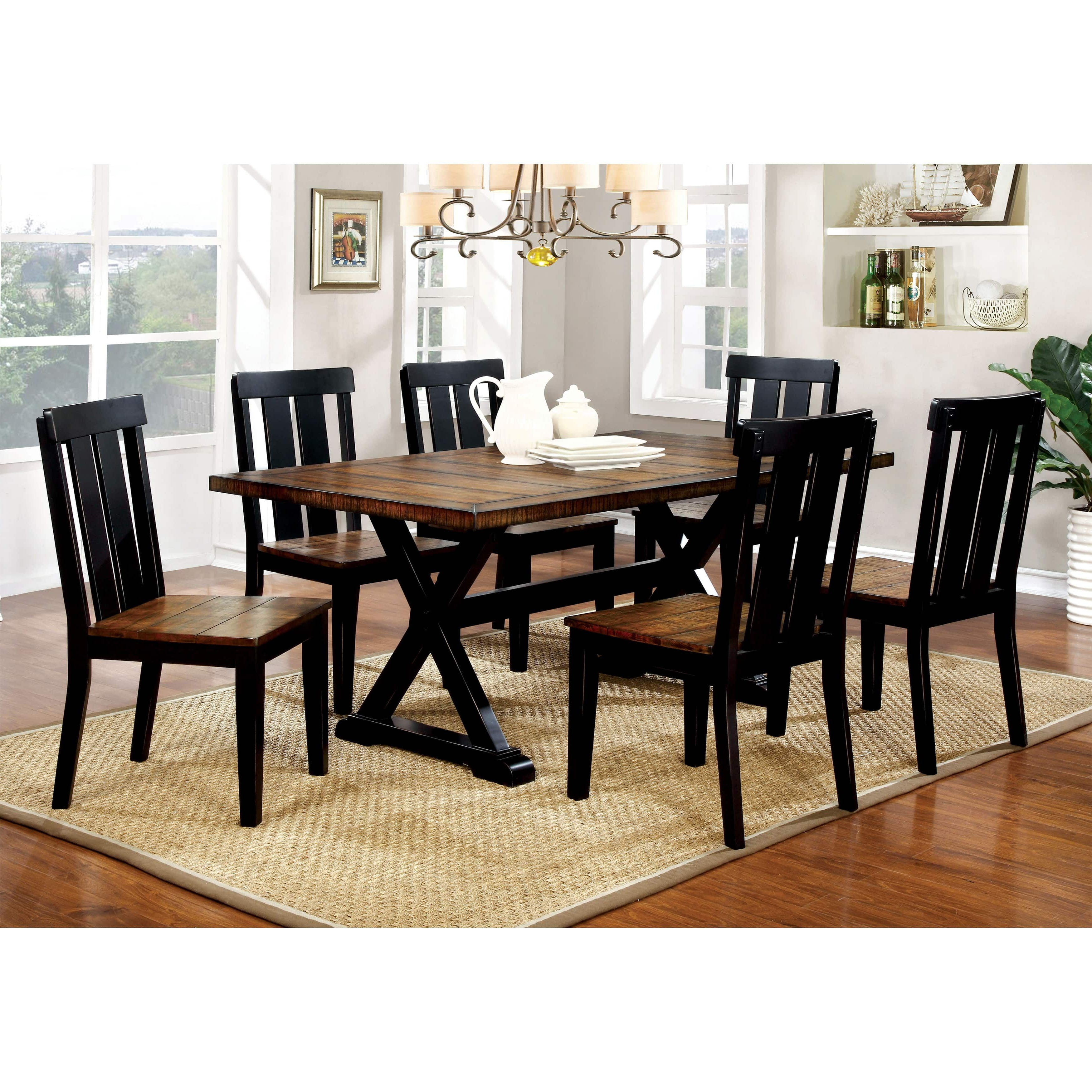 Well Liked Furniture Of America Lara Farmhouse Style 7 Piece Two Tone Antique Pertaining To Goodman 5 Piece Solid Wood Dining Sets (Set Of 5) (View 22 of 25)