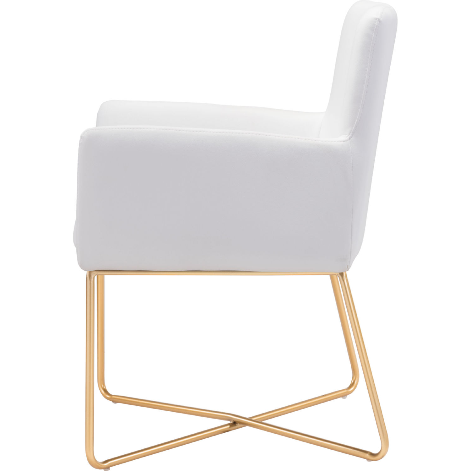 Well Liked Honoria 3 Piece Dining Sets Intended For Zuo 101147 Honoria Arm Chair In White Leatherette On Gold Metal (View 13 of 25)