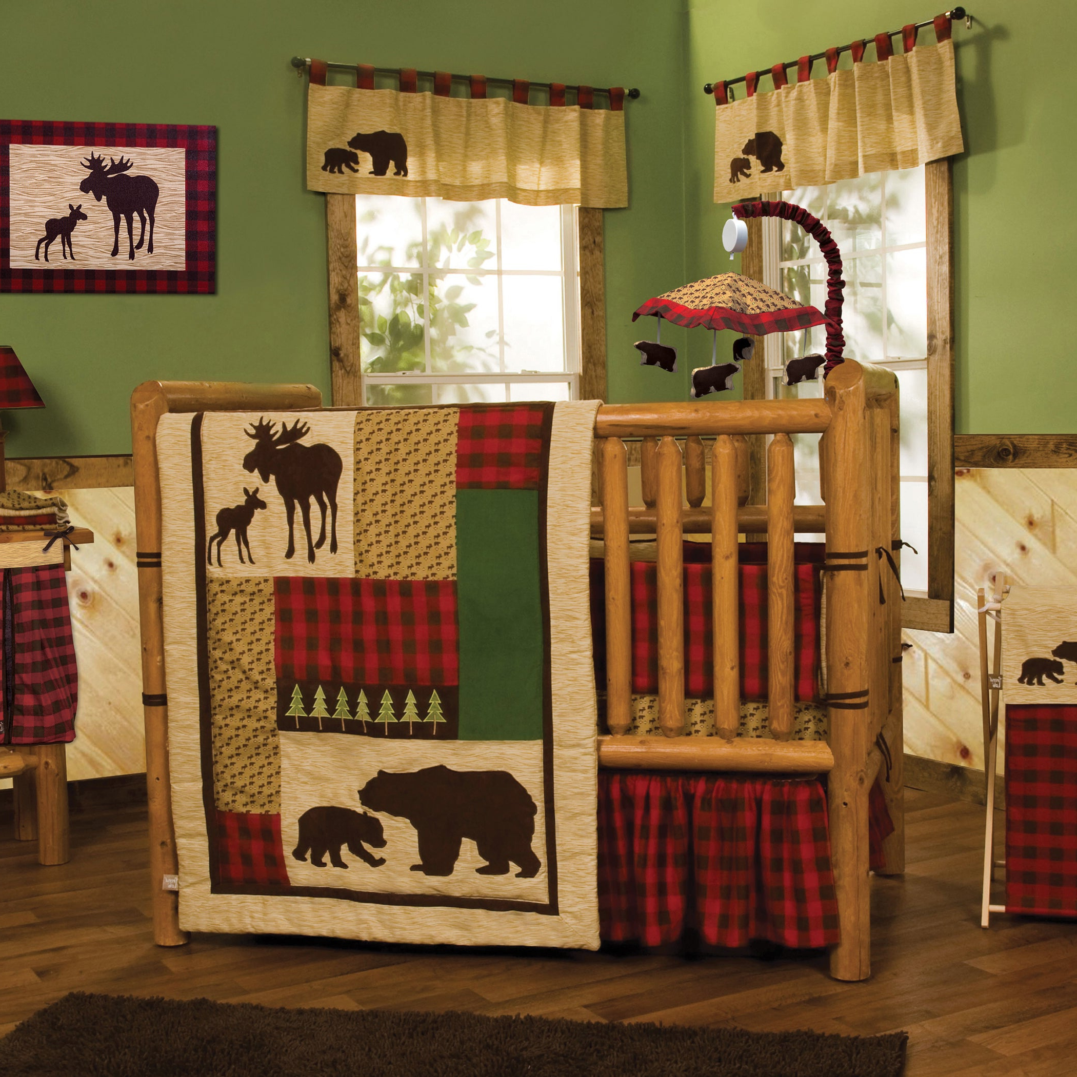 Well Liked Northwoods 3 Piece Dining Sets For Shop Northwoods 3 Piece Buffalo Check Crib Bedding Set – Free (View 10 of 25)