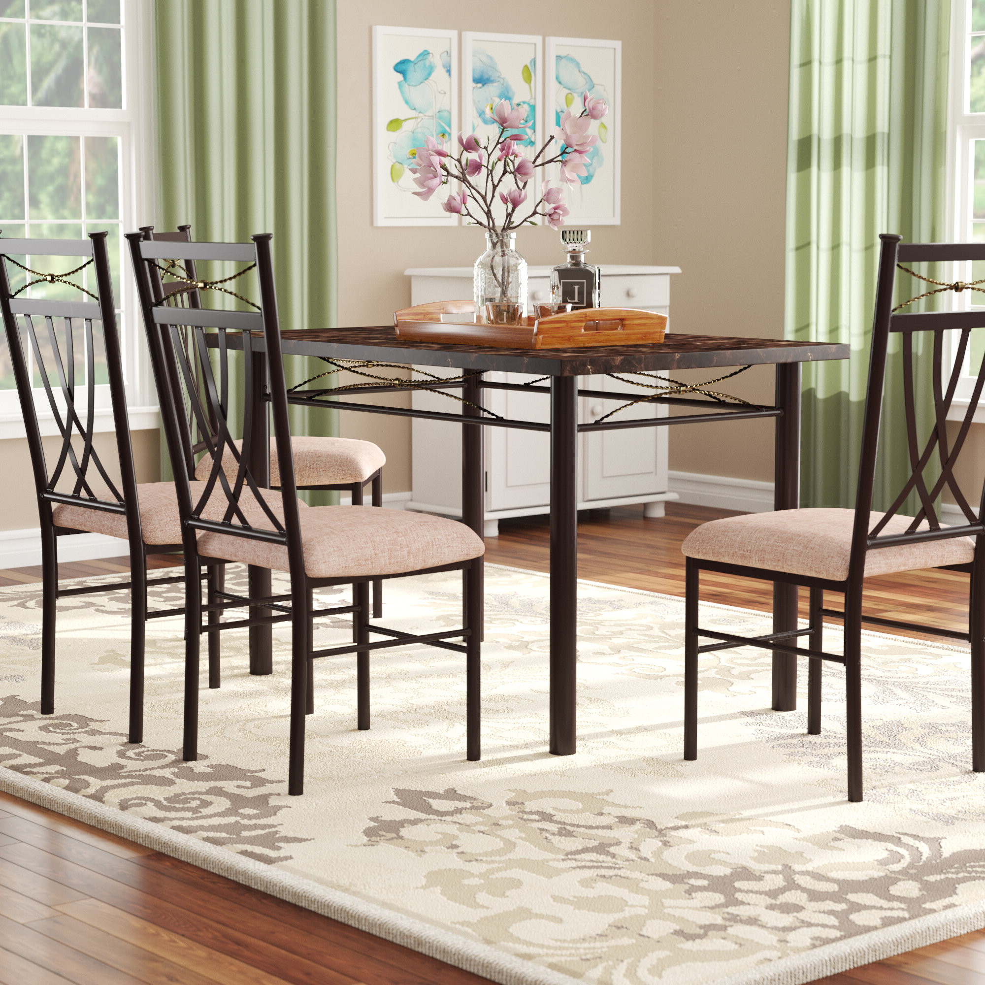 Well Liked Red Barrel Studio Branden 5 Piece Dining Set & Reviews (View 3 of 25)
