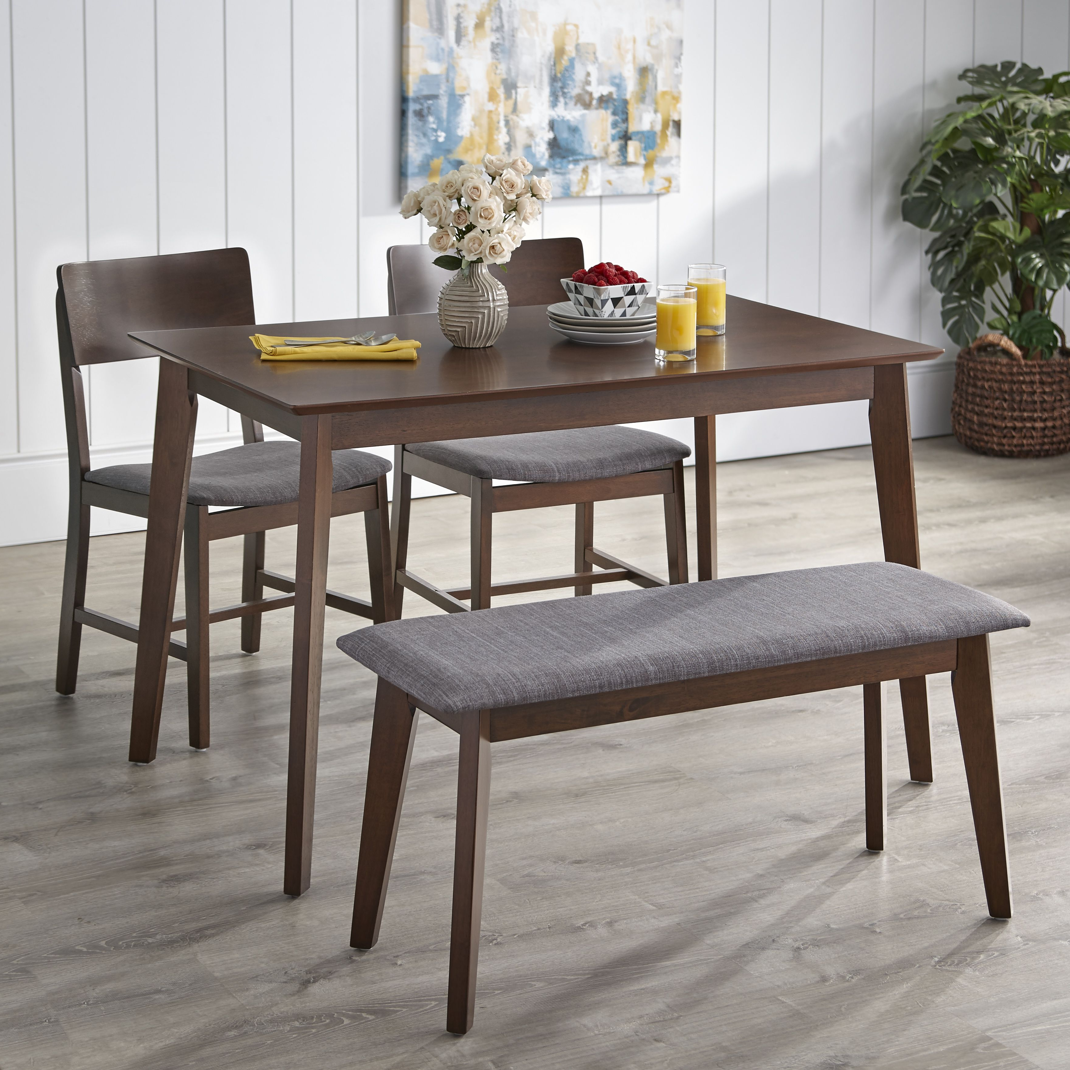 Well Liked Tms Tiara 4 Piece Dining Set With Bench, Multiple Colors#piece For Rossiter 3 Piece Dining Sets (View 16 of 25)