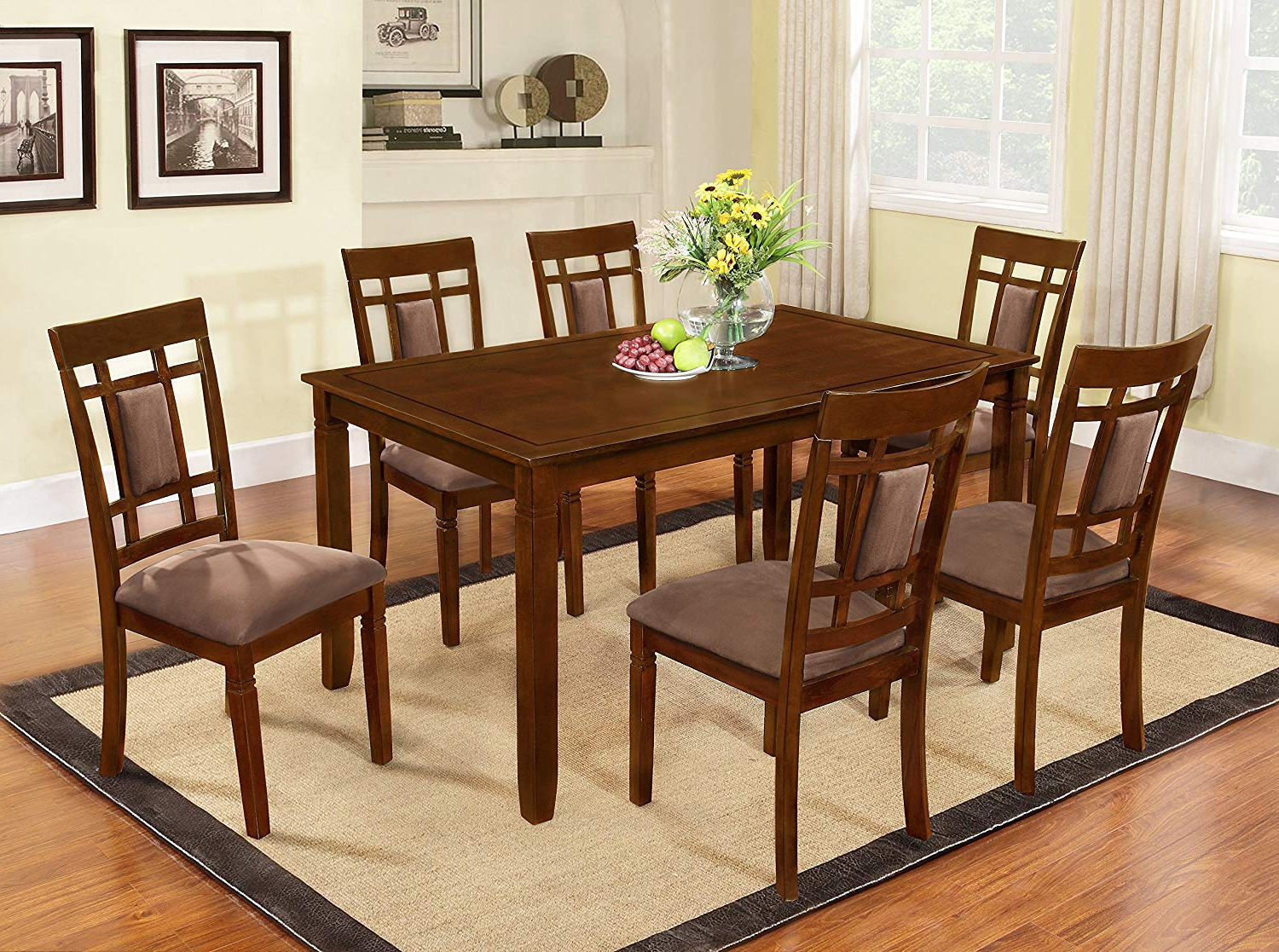 West Hill Family Table 3 Piece Dining Sets With Regard To Fashionable Amazon – The Room Style 7 Piece Cherry Finish Solid Wood Dining (View 23 of 25)