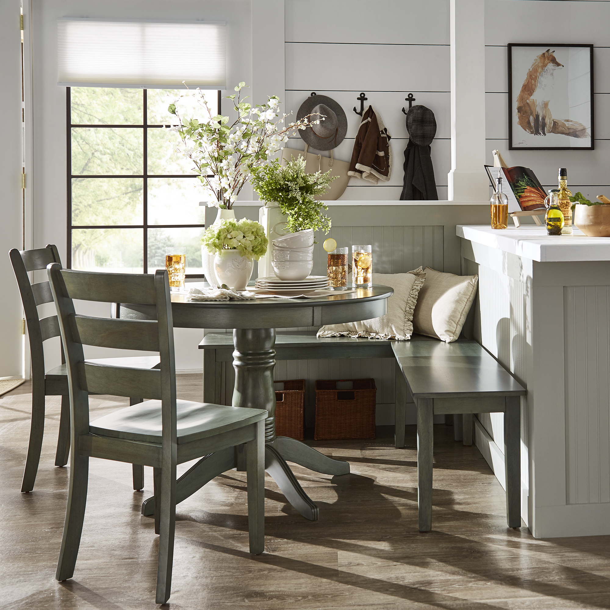 Weston Home Lexington 5 Piece Breakfast Nook Dining Set, Round Table With Regard To Well Known 5 Piece Breakfast Nook Dining Sets (View 18 of 25)