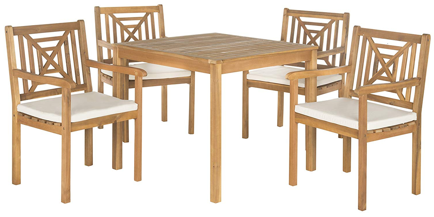 Widely Used Amazon : Safavieh Pat6722A Outdoor Living Collection Del Mar 5 With Regard To Delmar 5 Piece Dining Sets (View 24 of 25)