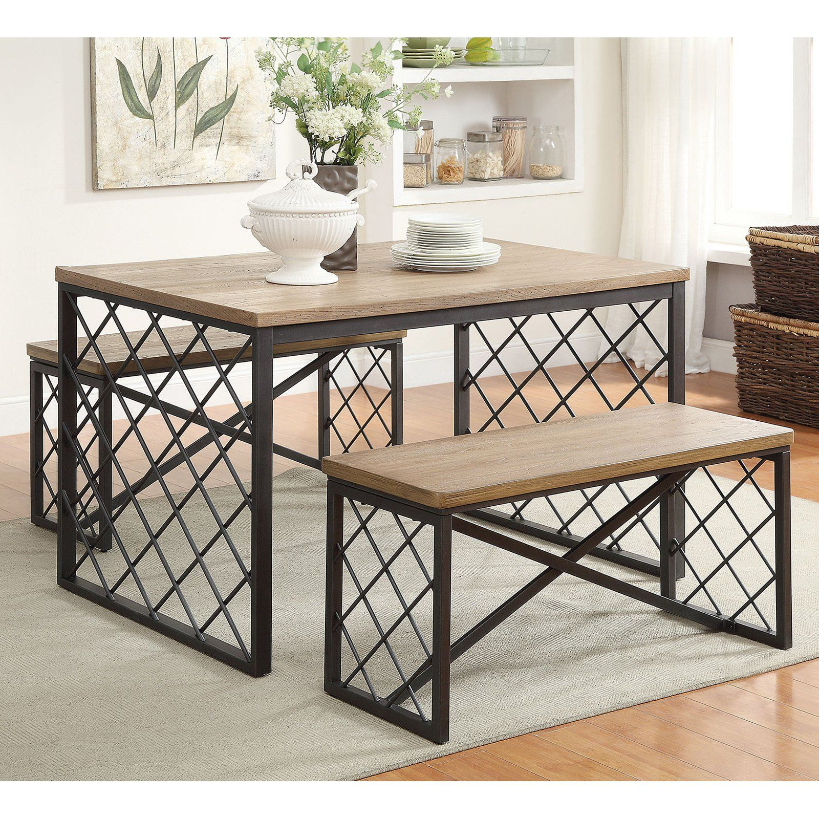 Widely Used Debby Small Space 3 Piece Dining Sets Intended For Acme Furniture Catalina 3 Piece Rectangular Dining Table Set (View 24 of 25)