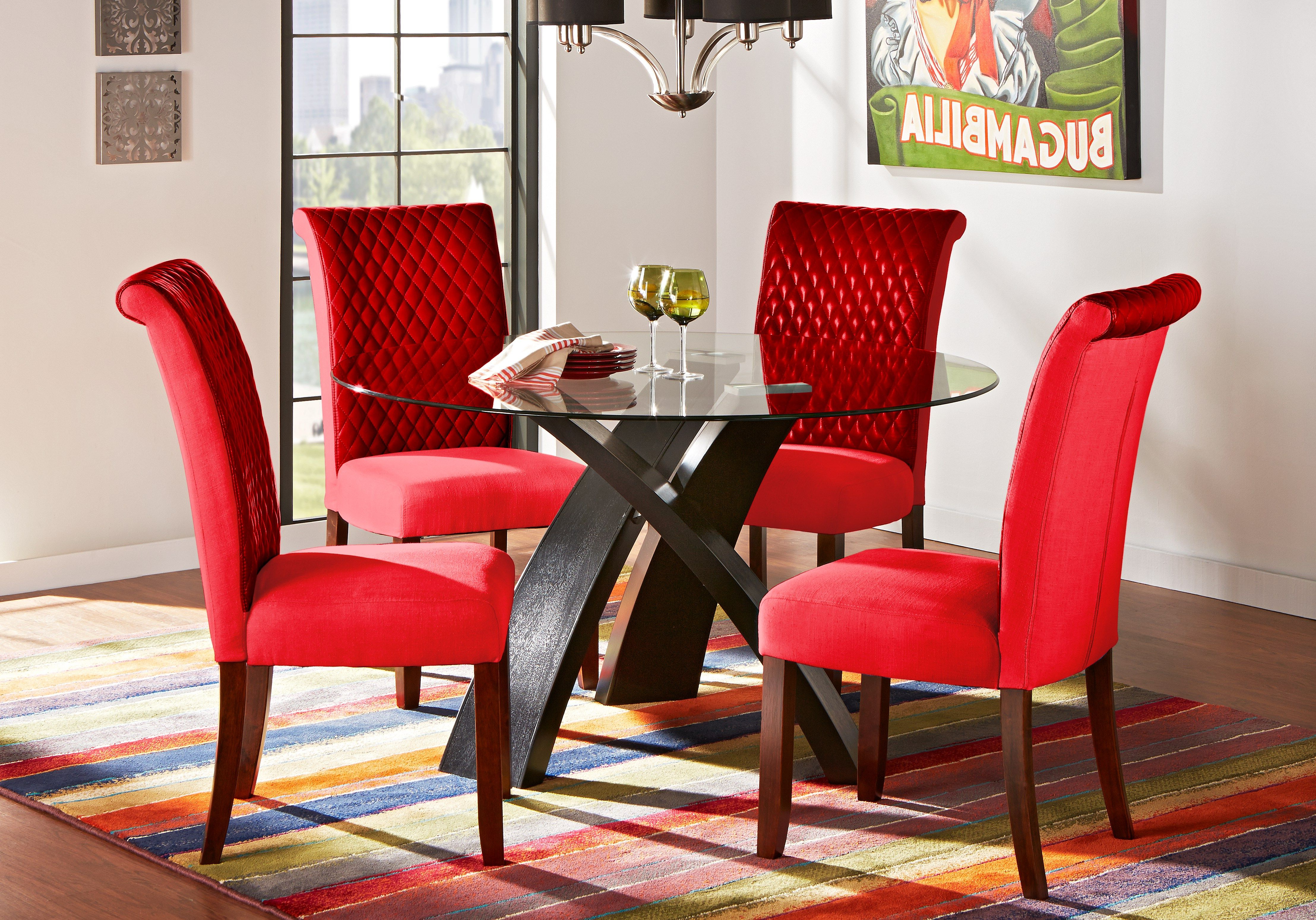 Widely Used Del Mar Ebony 5 Pc Round Dining Set With Red Chairs In 2019 With Delmar 5 Piece Dining Sets (View 6 of 25)
