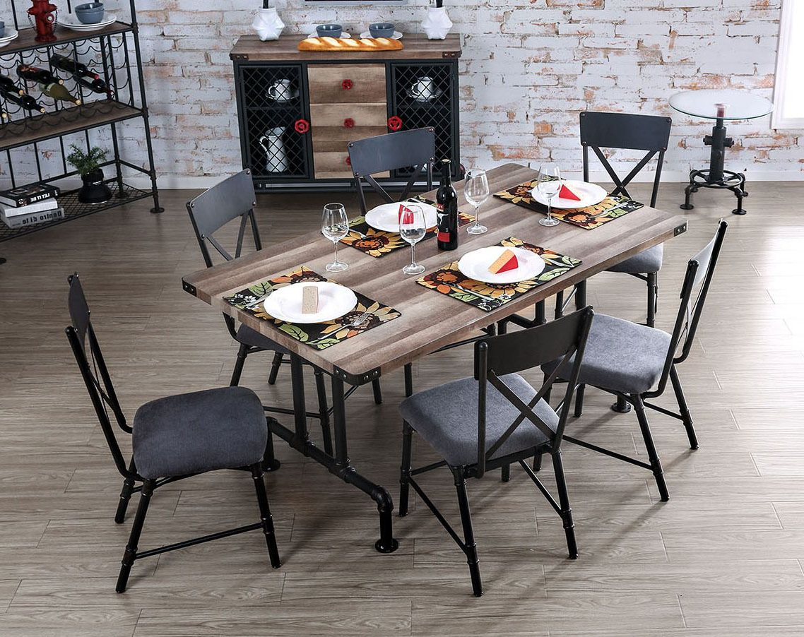 Widely Used Industrial Pipe Inspired Metal Wood Dining Table Set In  (View 6 of 25)