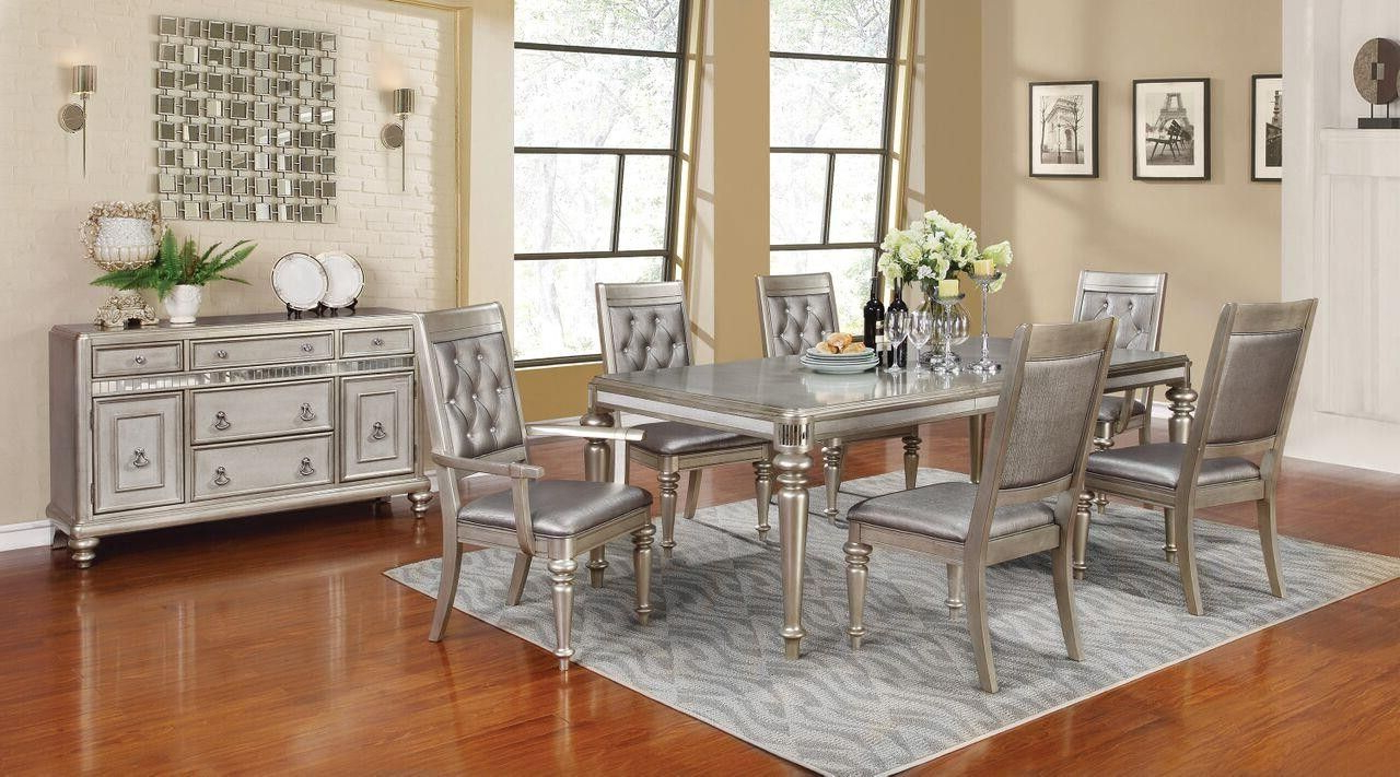Widely Used Lamotte 5 Piece Dining Sets Pertaining To Bling Game Collection Metallic Platinum Dining Room Table  (View 25 of 25)