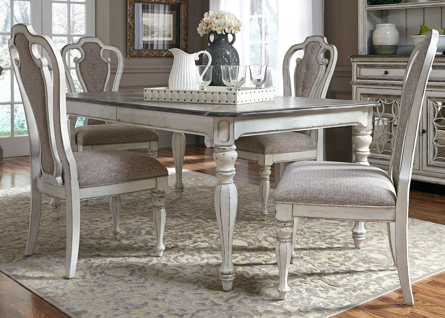 Widely Used Mitzel 3 Piece Dining Sets Regarding Magnolia Manor Dining Room Set W/ 90 Inch Table In  (View 23 of 25)
