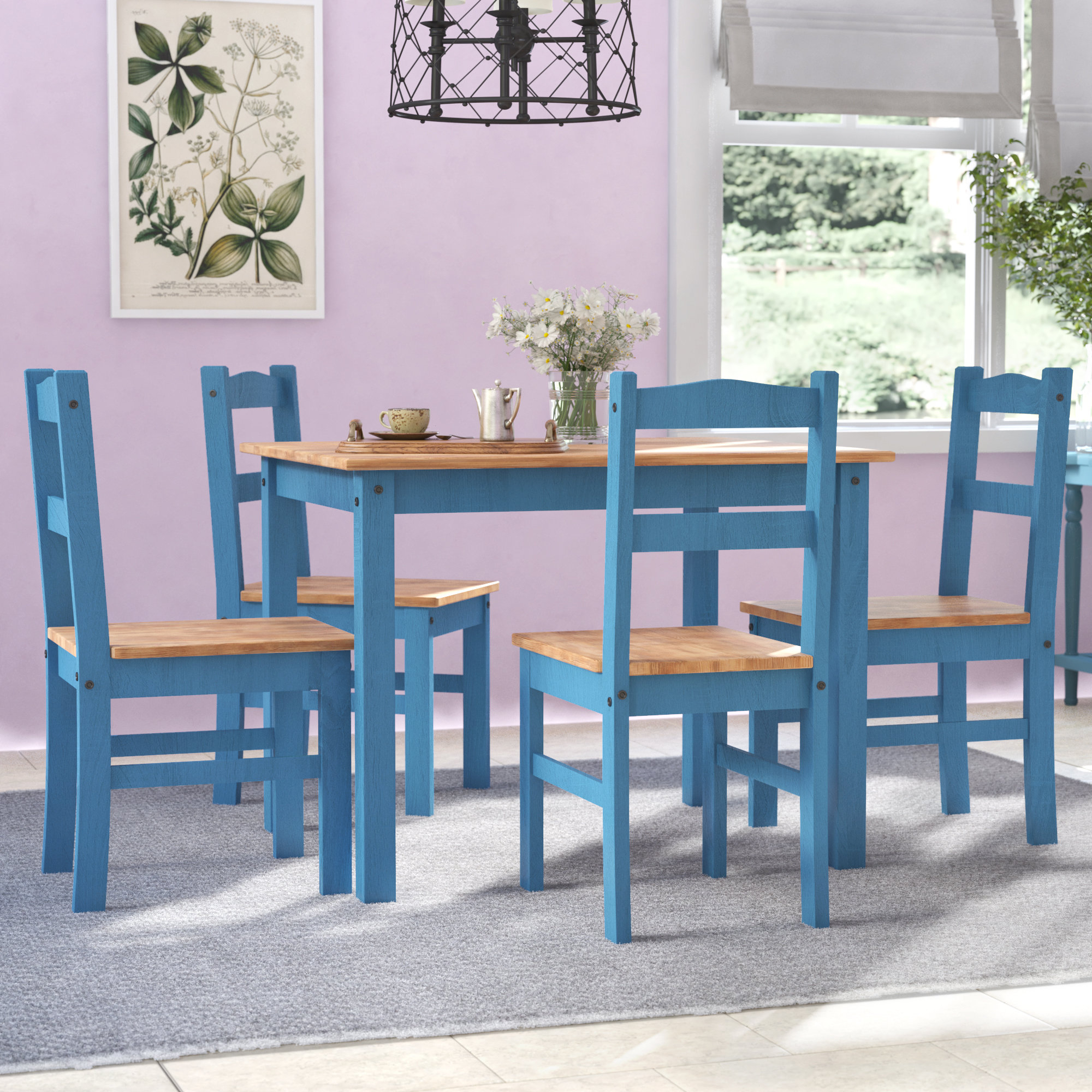 Widely Used Yedinak 5 Piece Solid Wood Dining Sets For Gracie Oaks Rodgers 5 Piece Solid Wood Dining Set & Reviews (View 4 of 25)