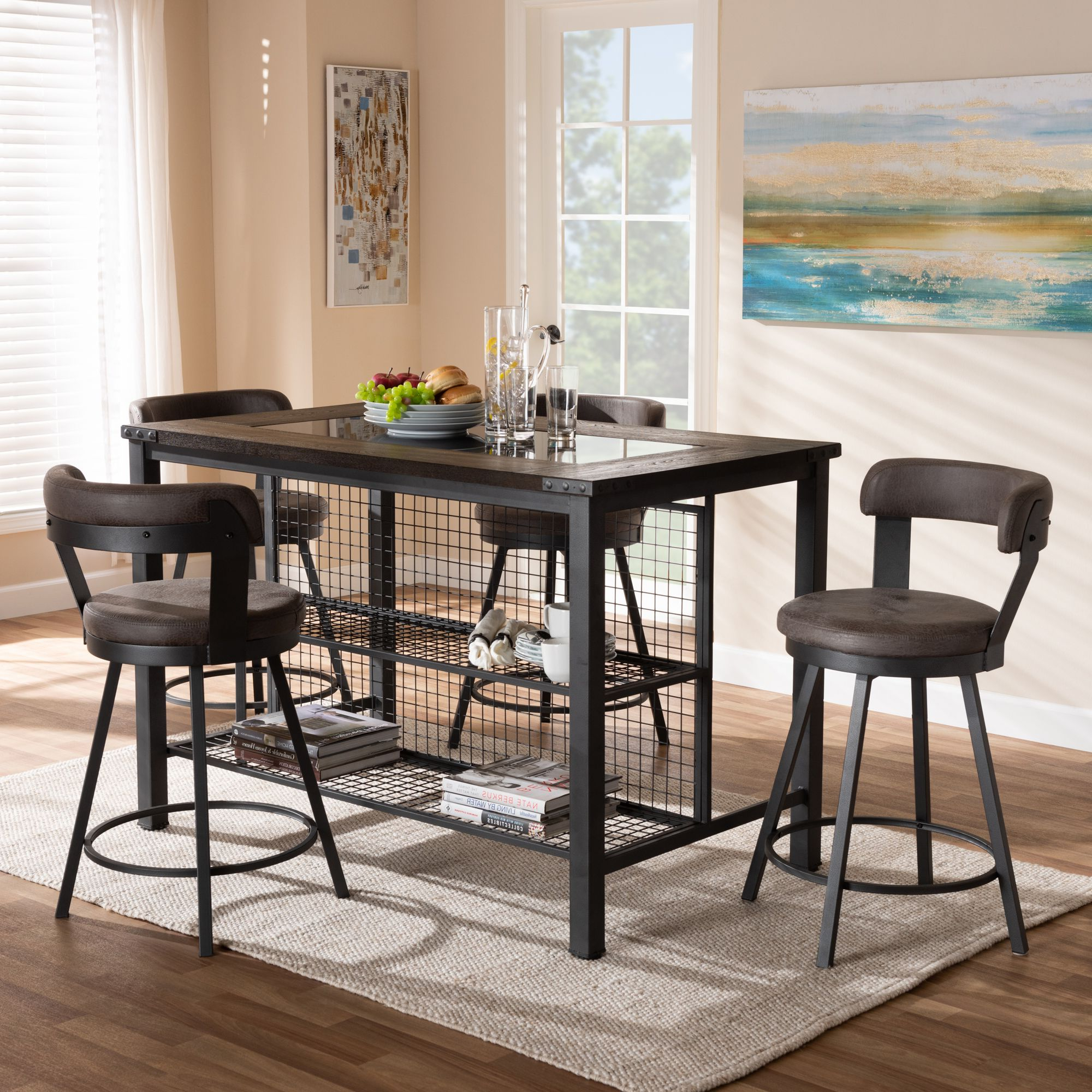 Wiggs 5 Piece Dining Sets In Well Known Baxton Studio Arcene Rustic And Industrial Antique Grey Faux Leather (View 17 of 25)