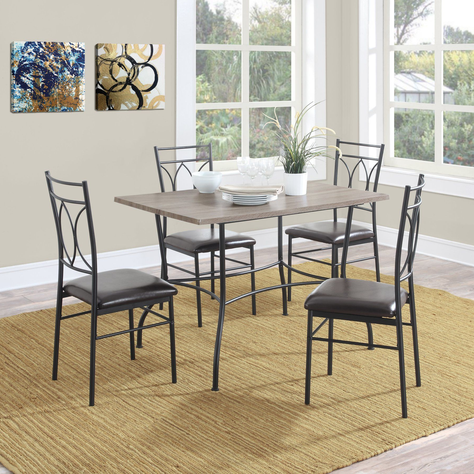 Wiggs 5 Piece Dining Sets With Trendy Dorel Living Shelby 5 Piece Rustic Wood & Metal Dining Set (View 9 of 25)