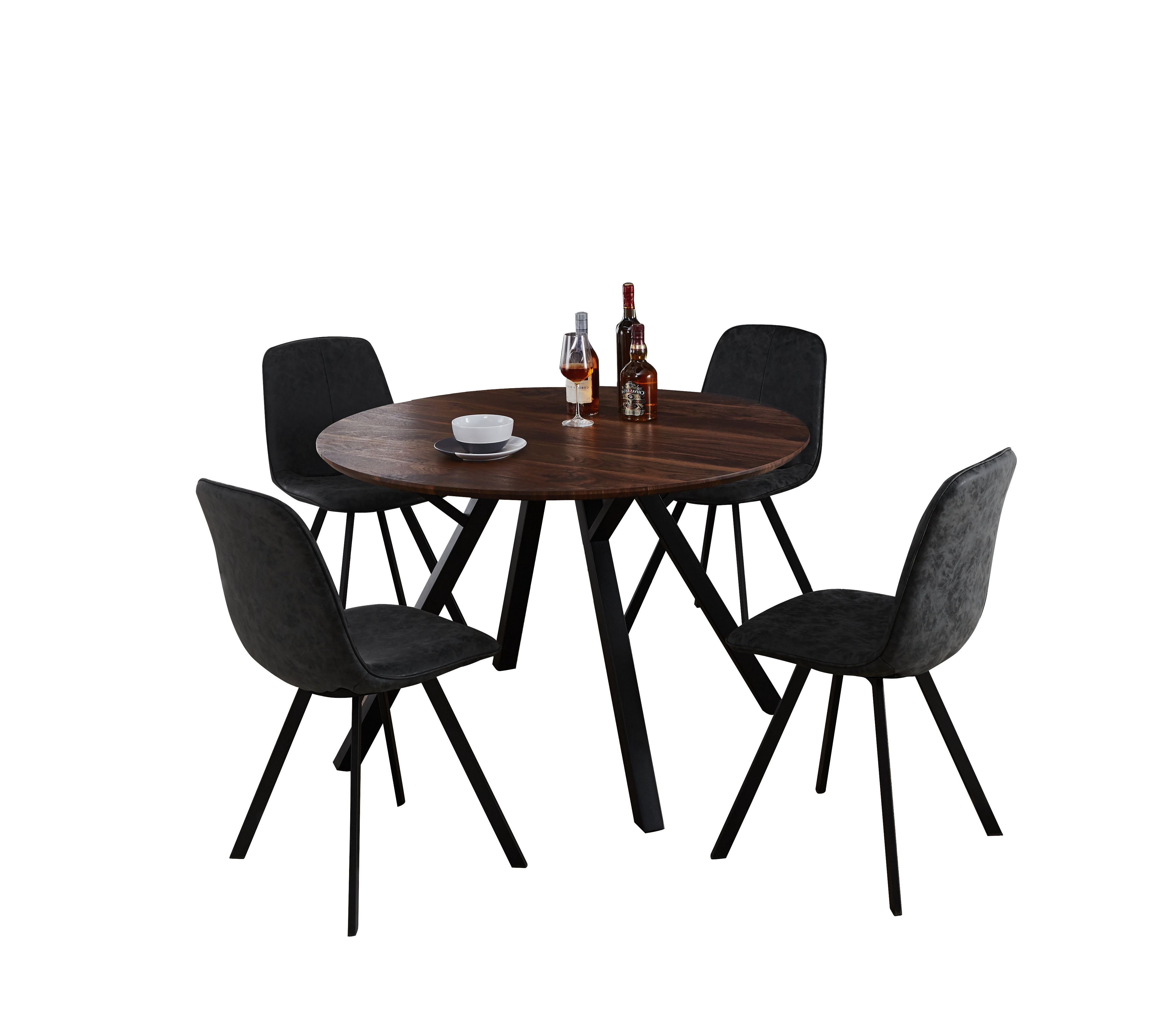 Williston Forge Malmo Design Round Table 5 Piece Solid Wood Dining Pertaining To Most Popular Wiggs 5 Piece Dining Sets (View 25 of 25)