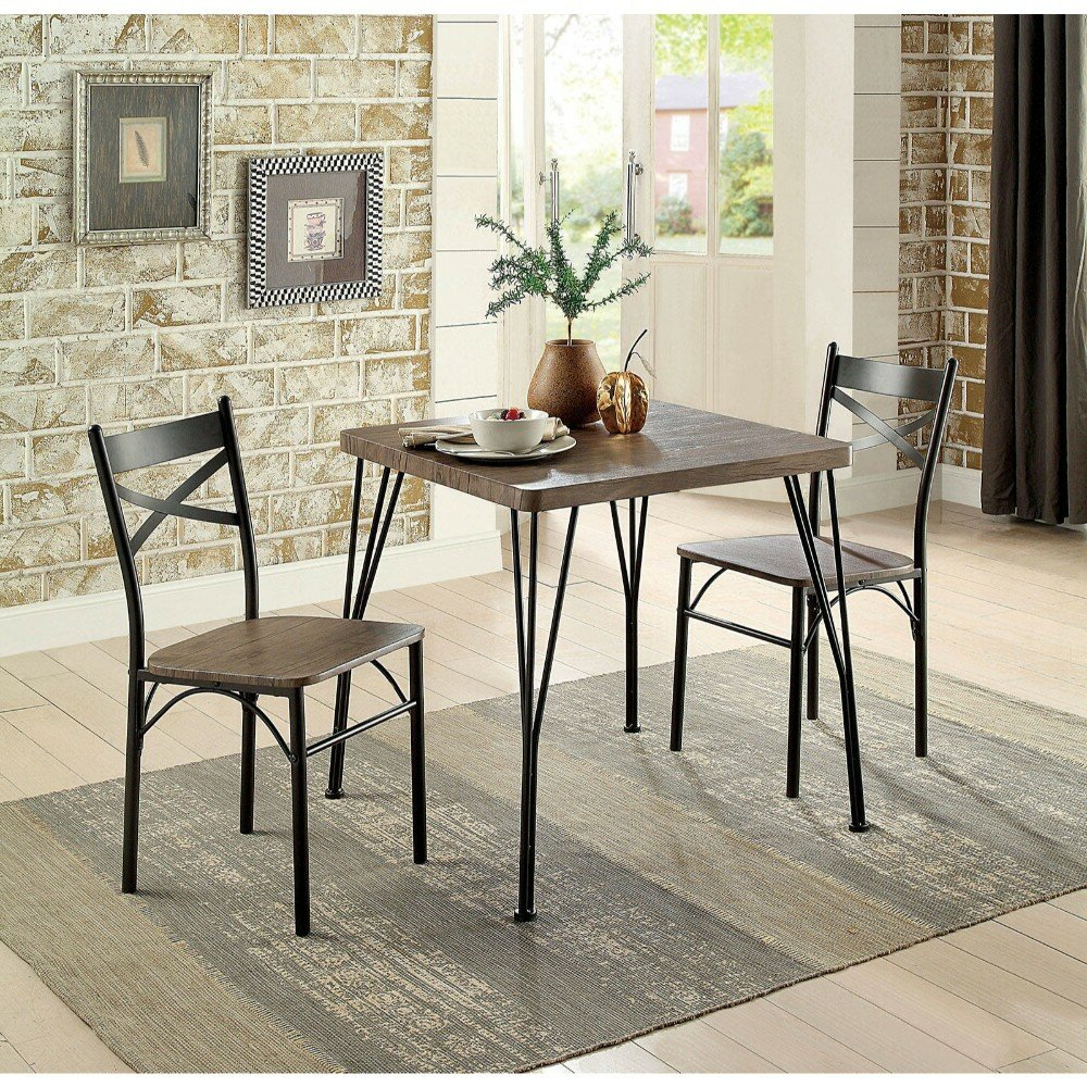Williston Forge Marquez Transitional 3 Piece Solid Wood Dining Set Intended For Fashionable Isolde 3 Piece Dining Sets (View 15 of 25)