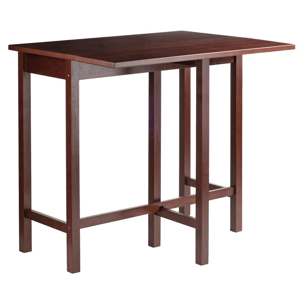 Winsome 3 Piece Counter Height Dining Sets Intended For Most Popular Winsome Wood Lynnwood Drop Leaf High Table In Walnut 94149 – The (View 17 of 25)
