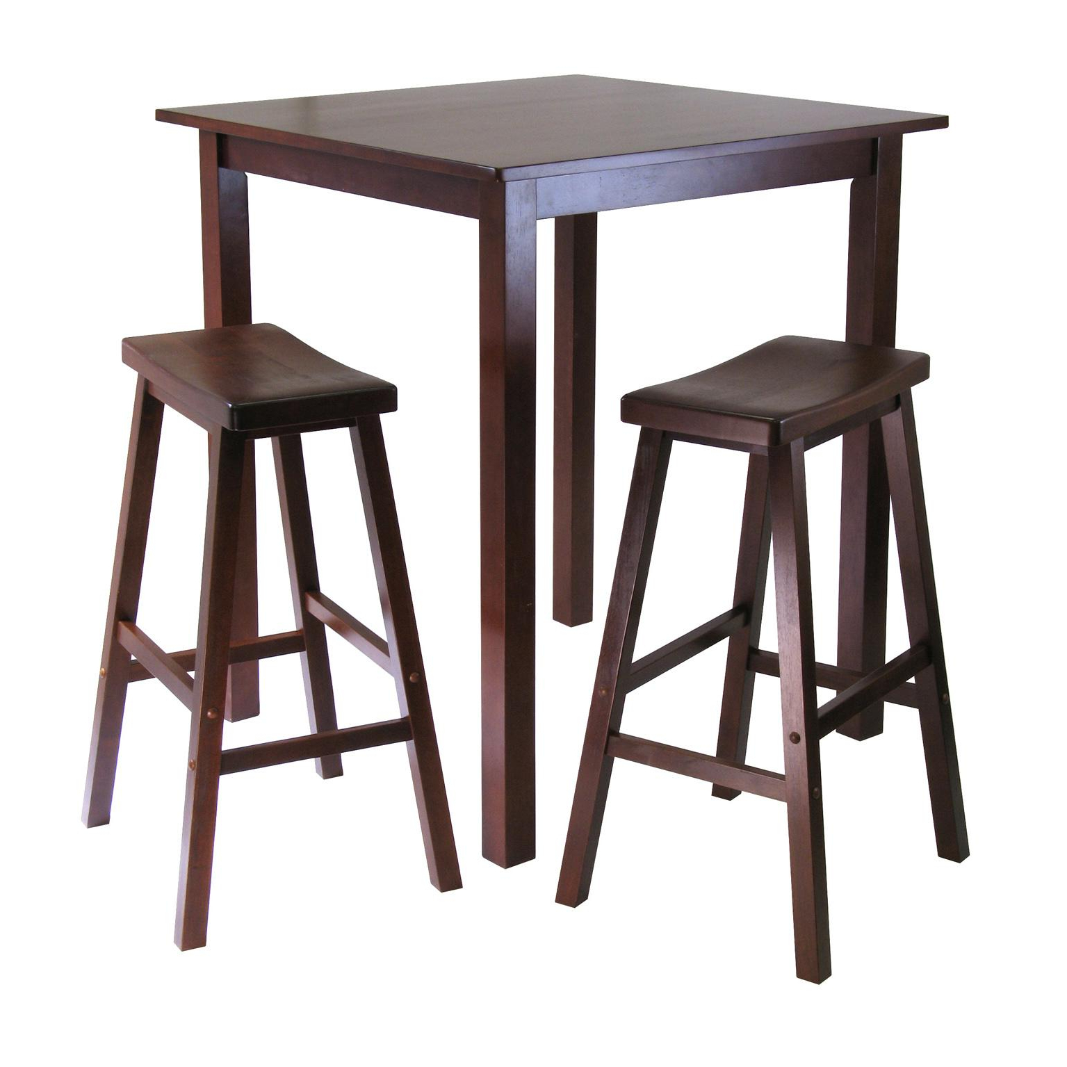 Winsome 3 Piece Counter Height Dining Sets Within Well Liked Amazon: Winsome's Parkland 3 Piece Square High/pub Table Set In (View 22 of 25)