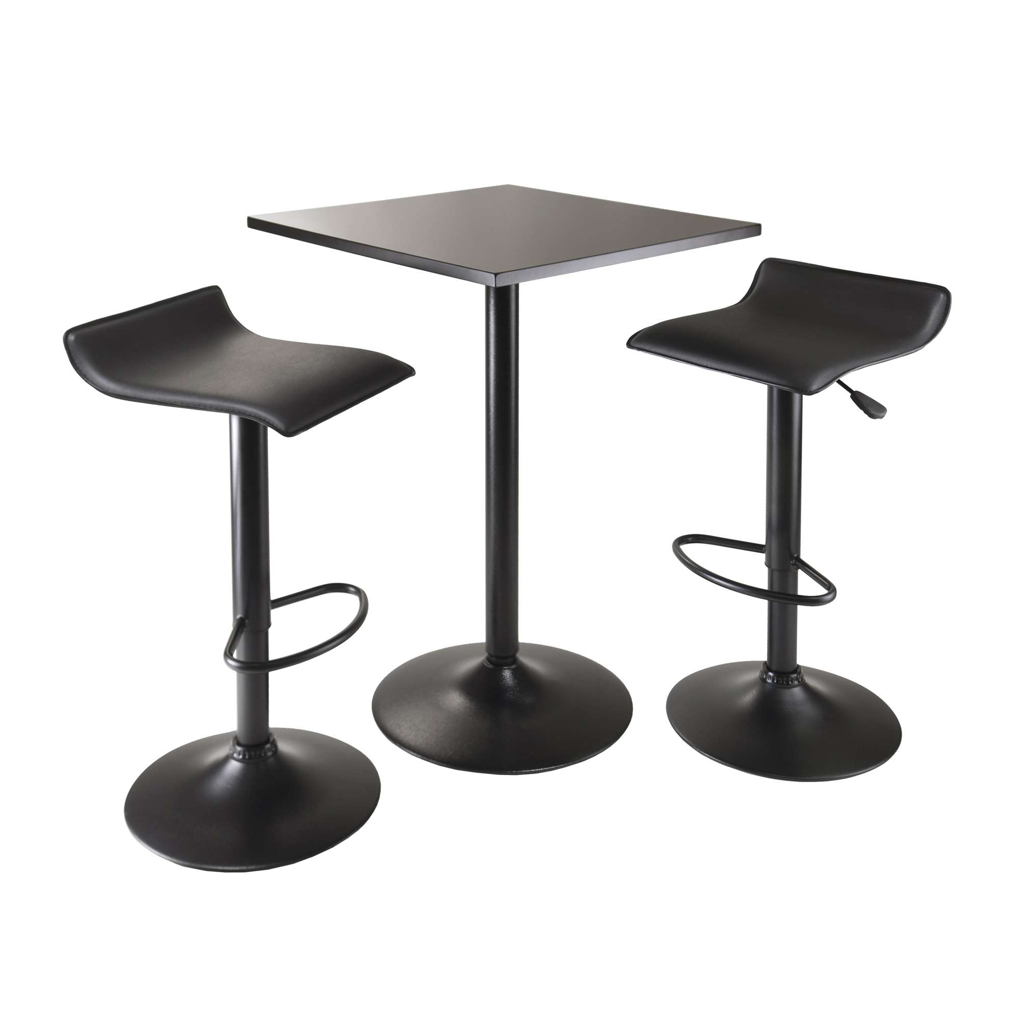 Winsome Wood Obsidian Black 3 Piece Square Table Counter Height Throughout Most Popular Winsome 3 Piece Counter Height Dining Sets (View 19 of 25)