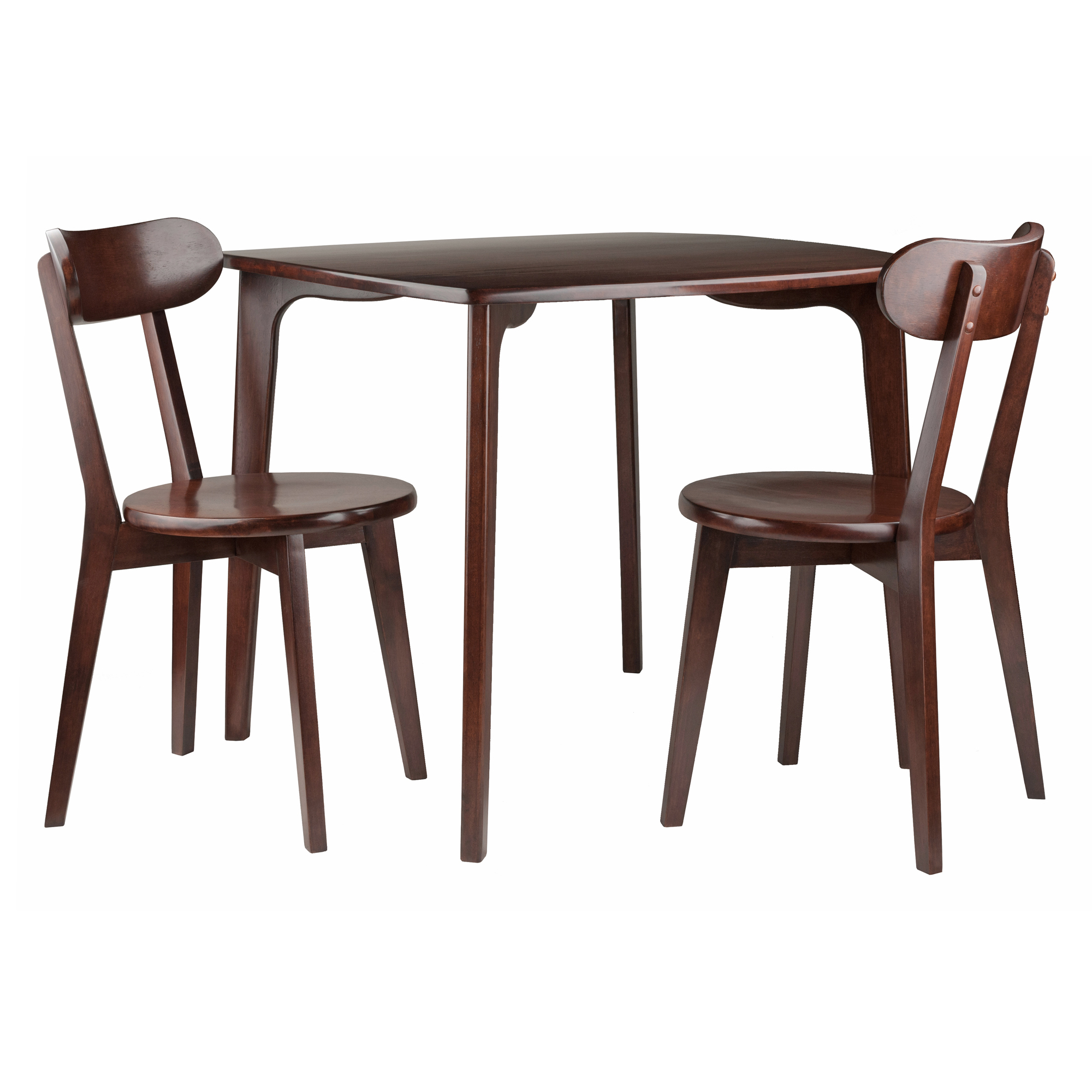 Winsome Wood Pauline 3 Piece Dining Table With Chairs Set, Walnut Throughout Well Known Winsome 3 Piece Counter Height Dining Sets (View 25 of 25)