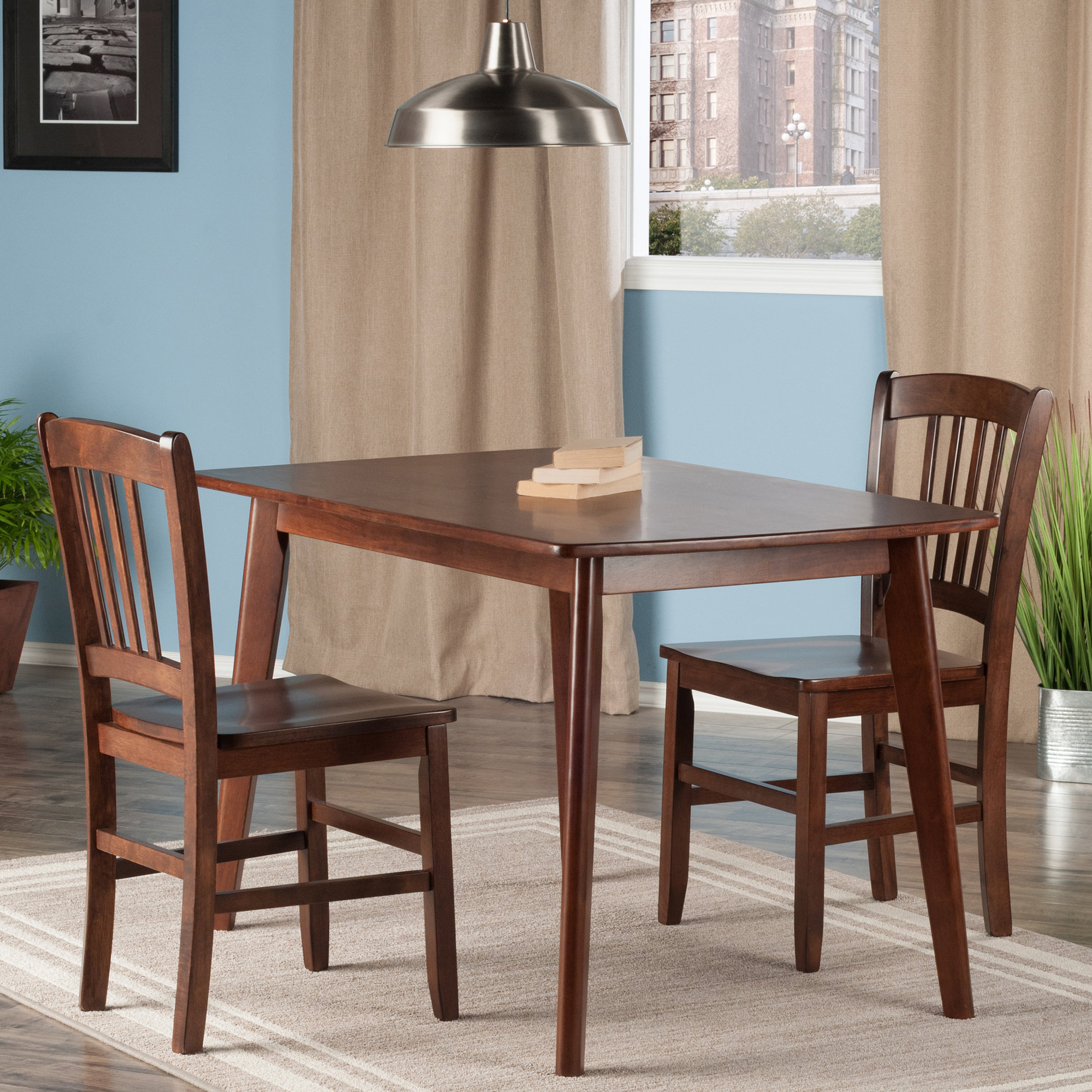 Winston Porter Guynn 3 Piece Solid Wood Dining Set Wnst1156 In Popular Penelope 3 Piece Counter Height Wood Dining Sets (View 16 of 25)