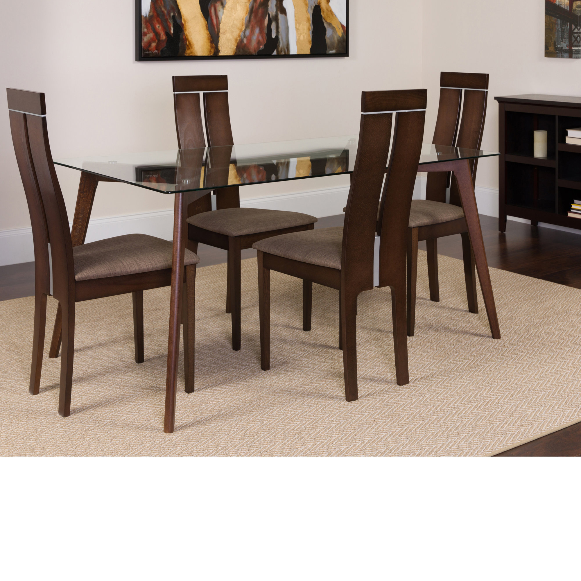 Winston Porter Hust 5 Piece Solid Wood Dining Set  (View 6 of 25)