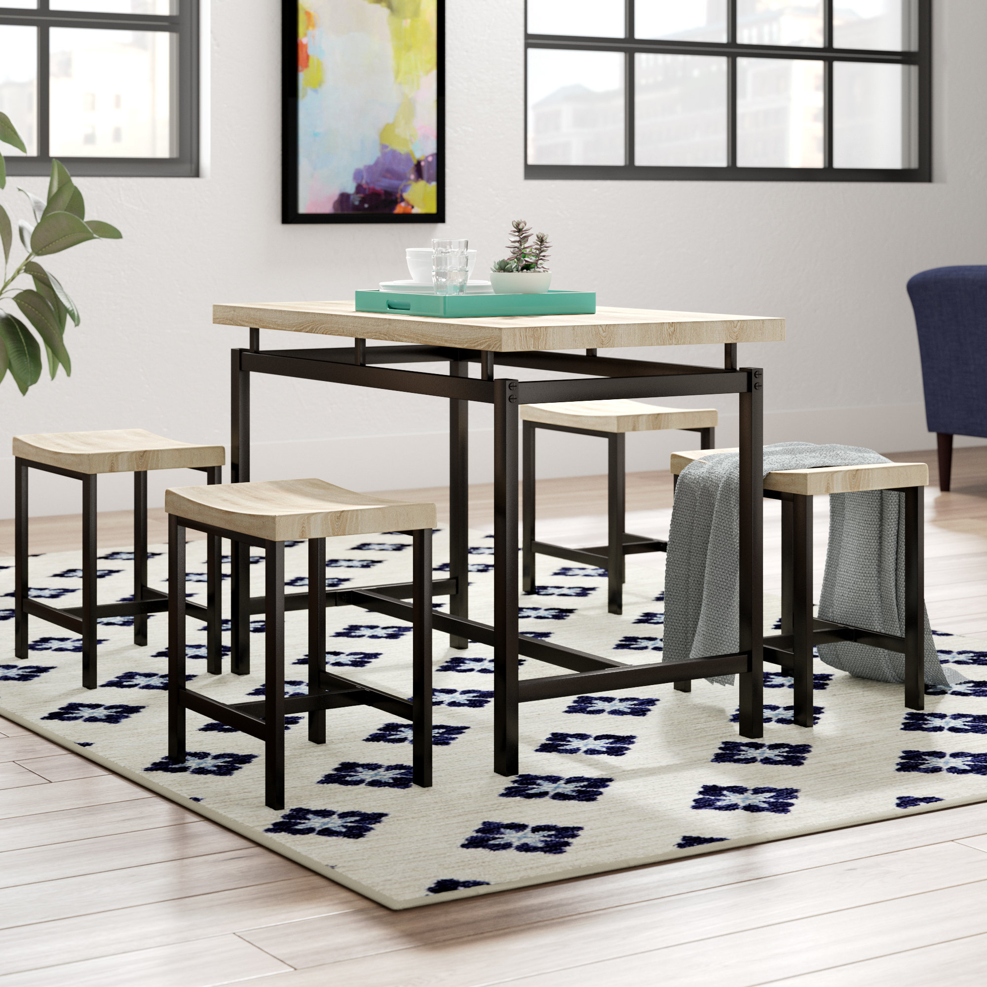 Wrought Studio Bryson 5 Piece Dining Set & Reviews (View 8 of 25)