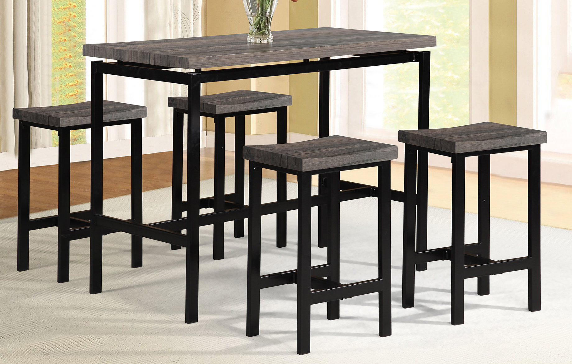 Wrought Studio Denzel 5 Piece Counter Height Breakfast Nook Dining Inside Most Recently Released Denzel 5 Piece Counter Height Breakfast Nook Dining Sets (View 3 of 25)